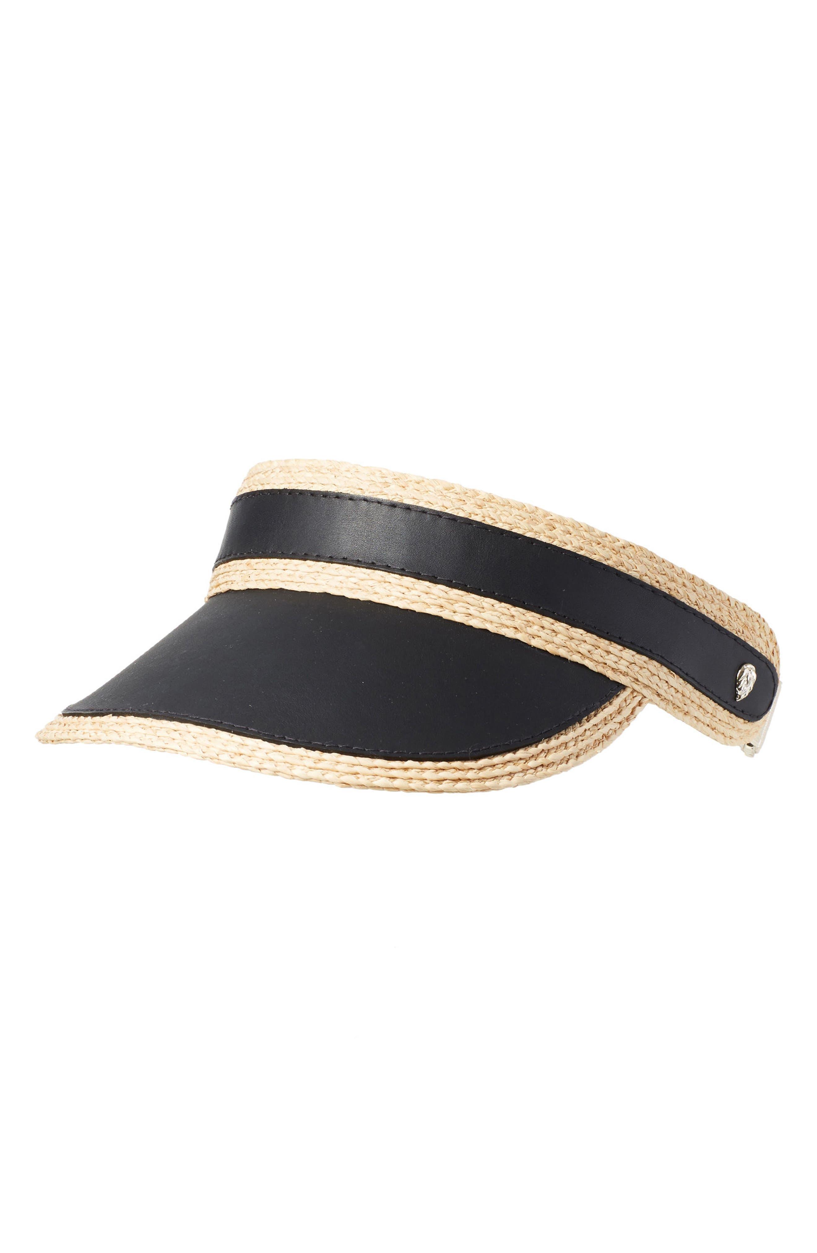Leather & Raffia Visor,                         Main,                         color, Black/ Natural