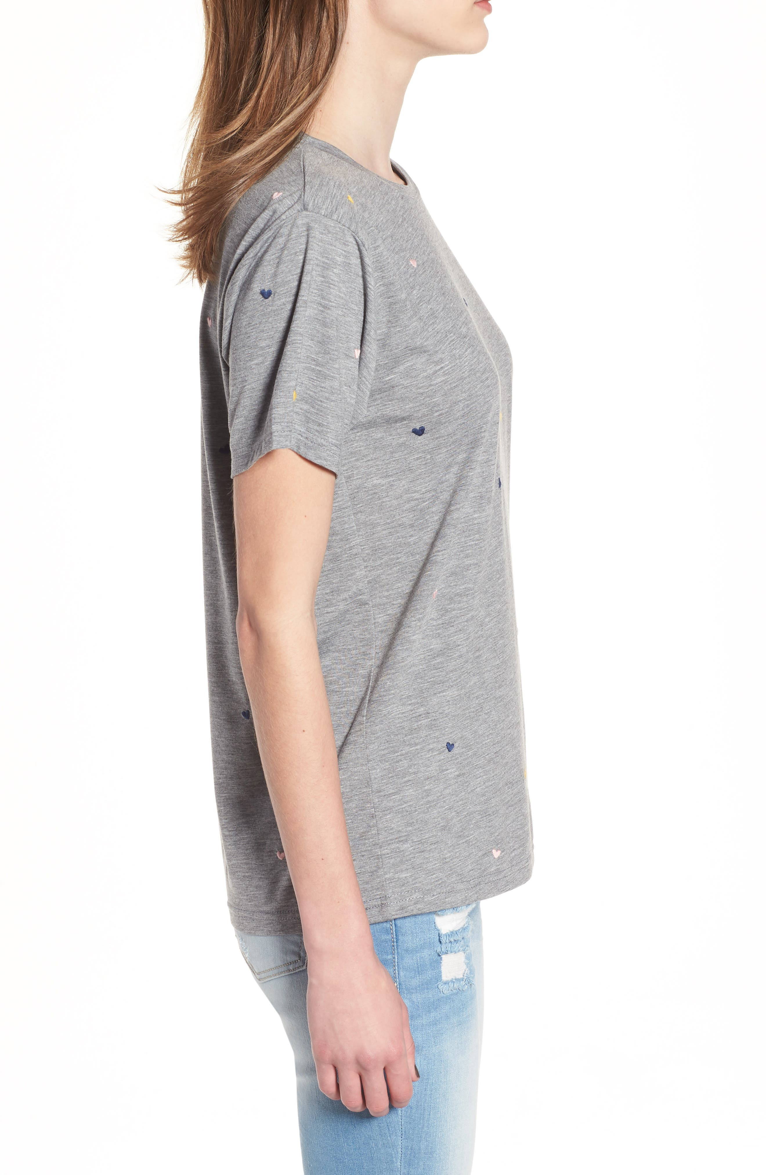 Embroidered Heart Tee,                             Alternate thumbnail 3, color,                             Grey