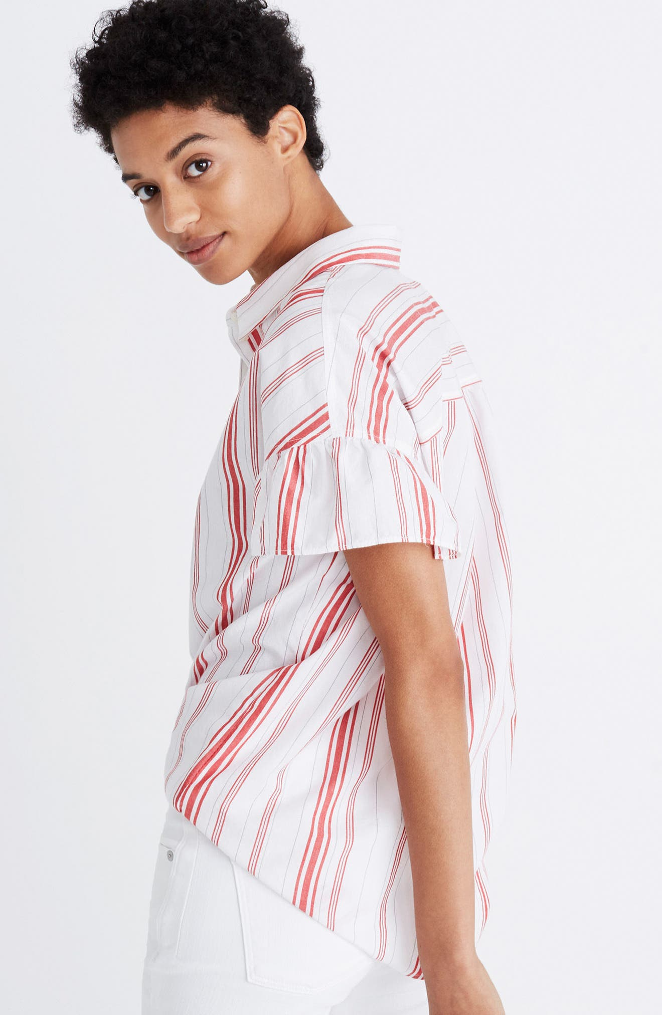 Central Stripe Ruffle Sleeve Shirt,                             Alternate thumbnail 2, color,                             Red Stripe