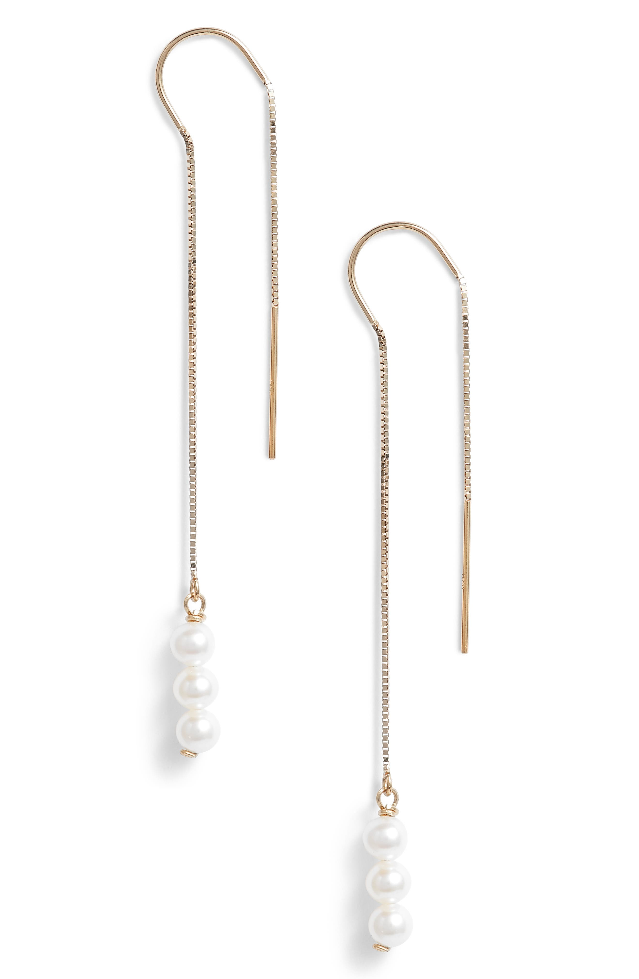 Triple Baby Pearl Threader Earrings,                             Main thumbnail 1, color,                             Yellow Gold/ White Pearl