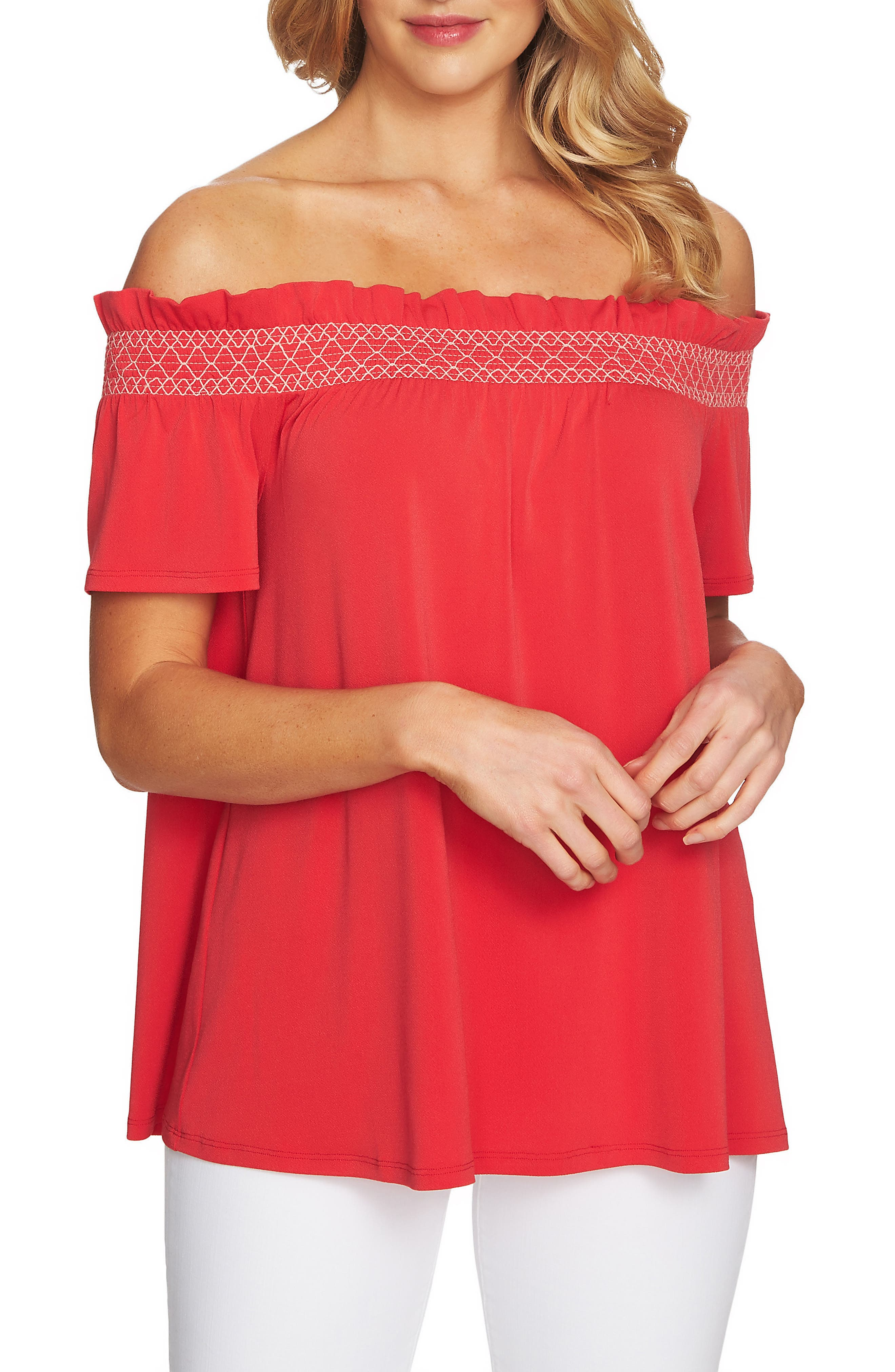 Smocked Off the Shoulder Crepe Top,                             Main thumbnail 1, color,                             Wildfire Red
