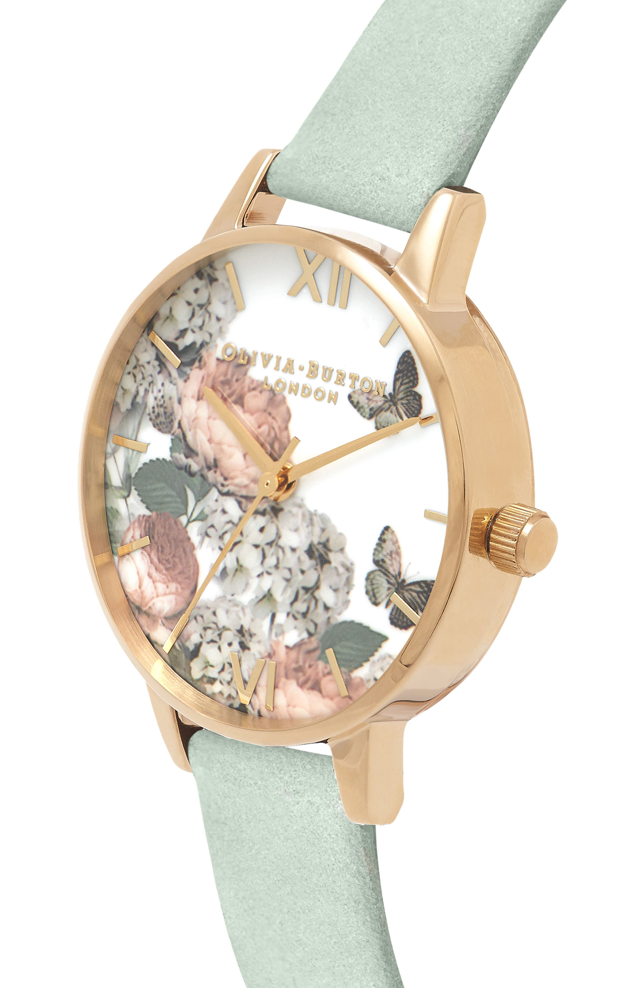 Signature Floral Leather Strap Watch, 30mm,                             Alternate thumbnail 3, color,                             Sage/ Floral/ Gold