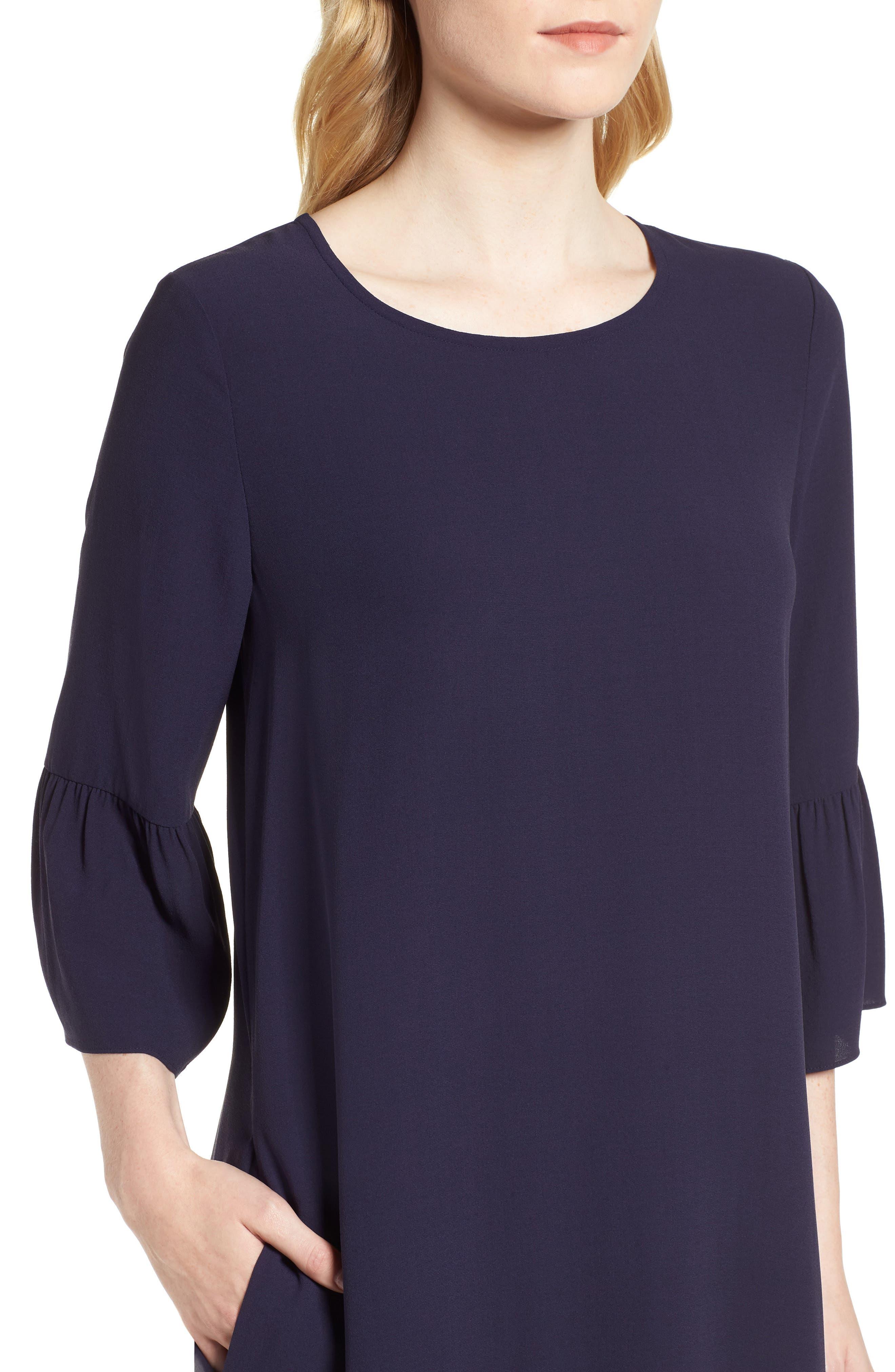 Flare Sleeve Silk Dress,                             Alternate thumbnail 4, color,                             Salt Lake