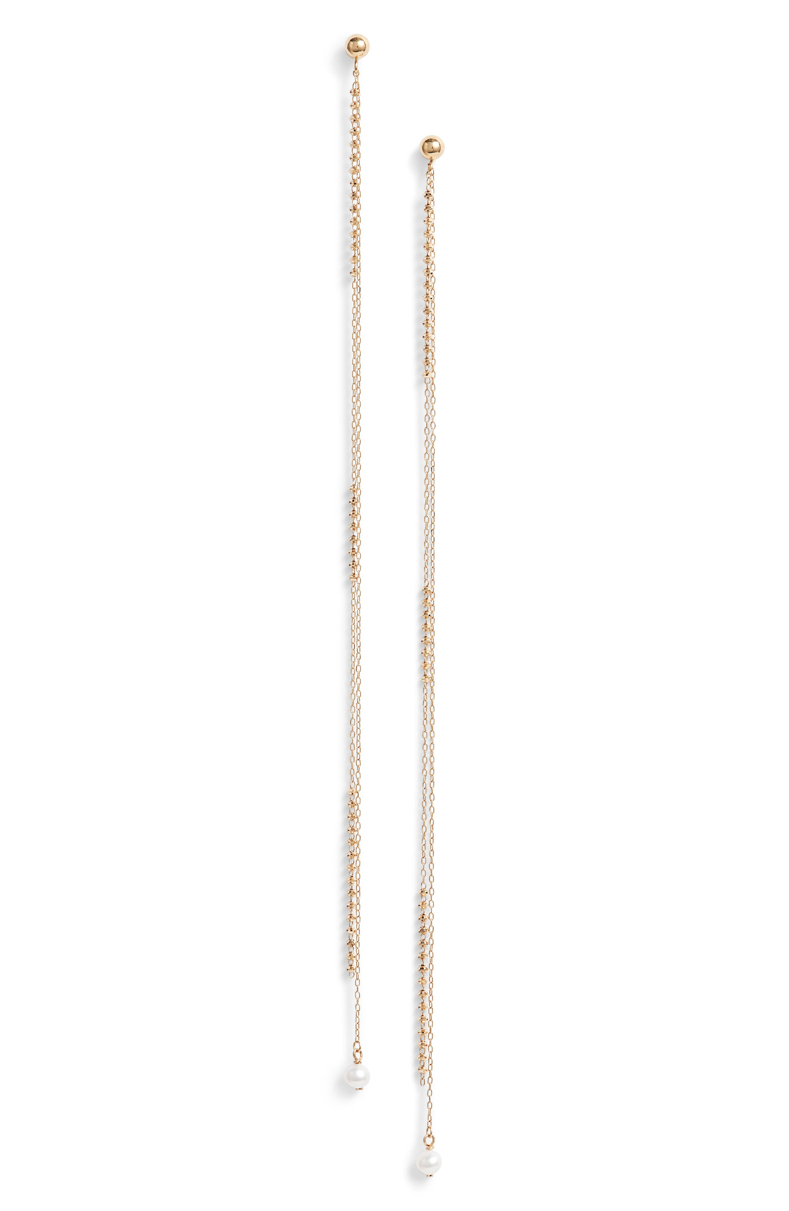 Shimmer Double Chain Baby Pearl Long Drop Earrings,                             Main thumbnail 1, color,                             Yellow Gold/ White Pearl