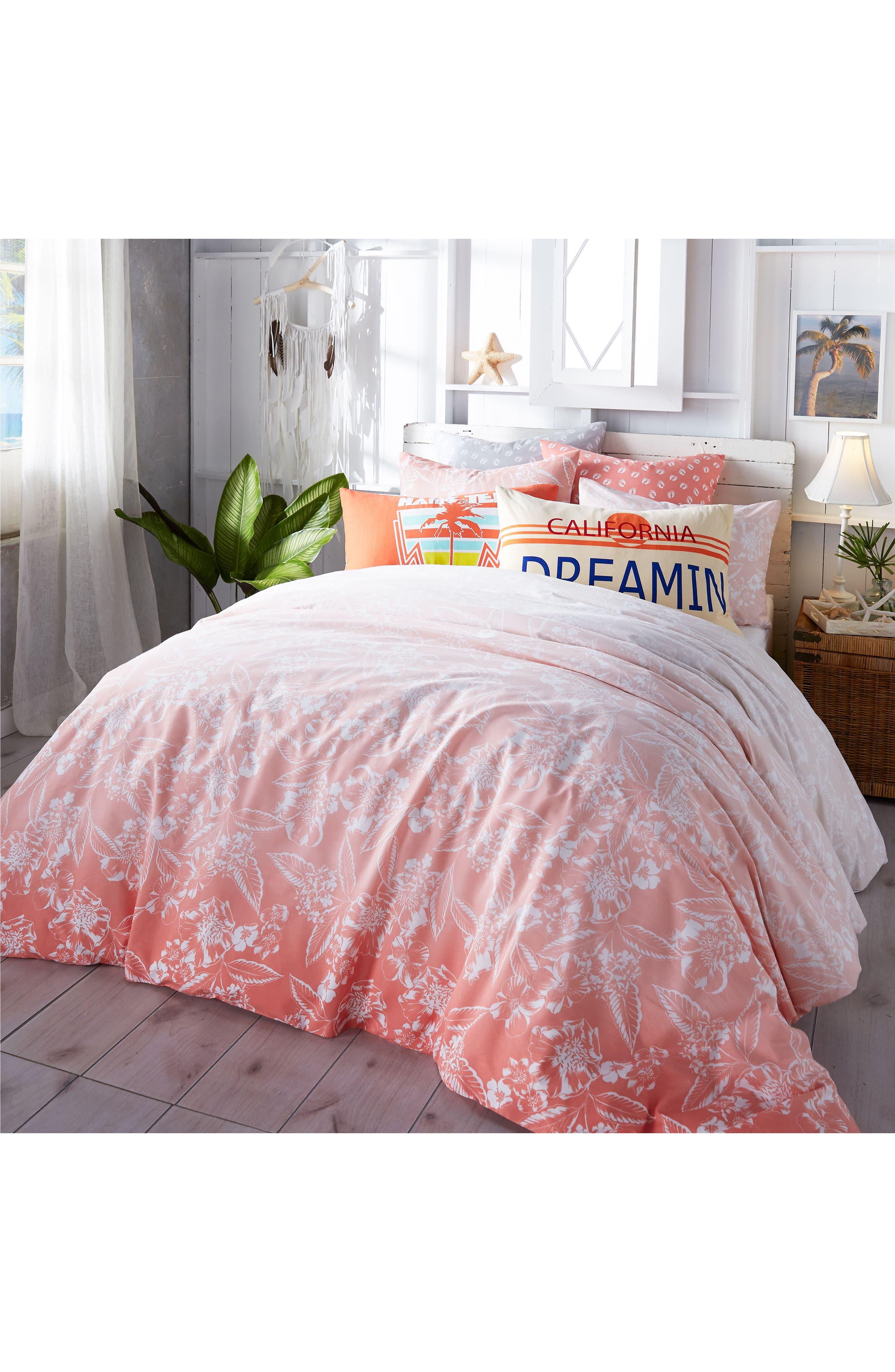 Ombré Hibiscus Duvet Cover & Sham Set,                             Main thumbnail 1, color,                             Coral