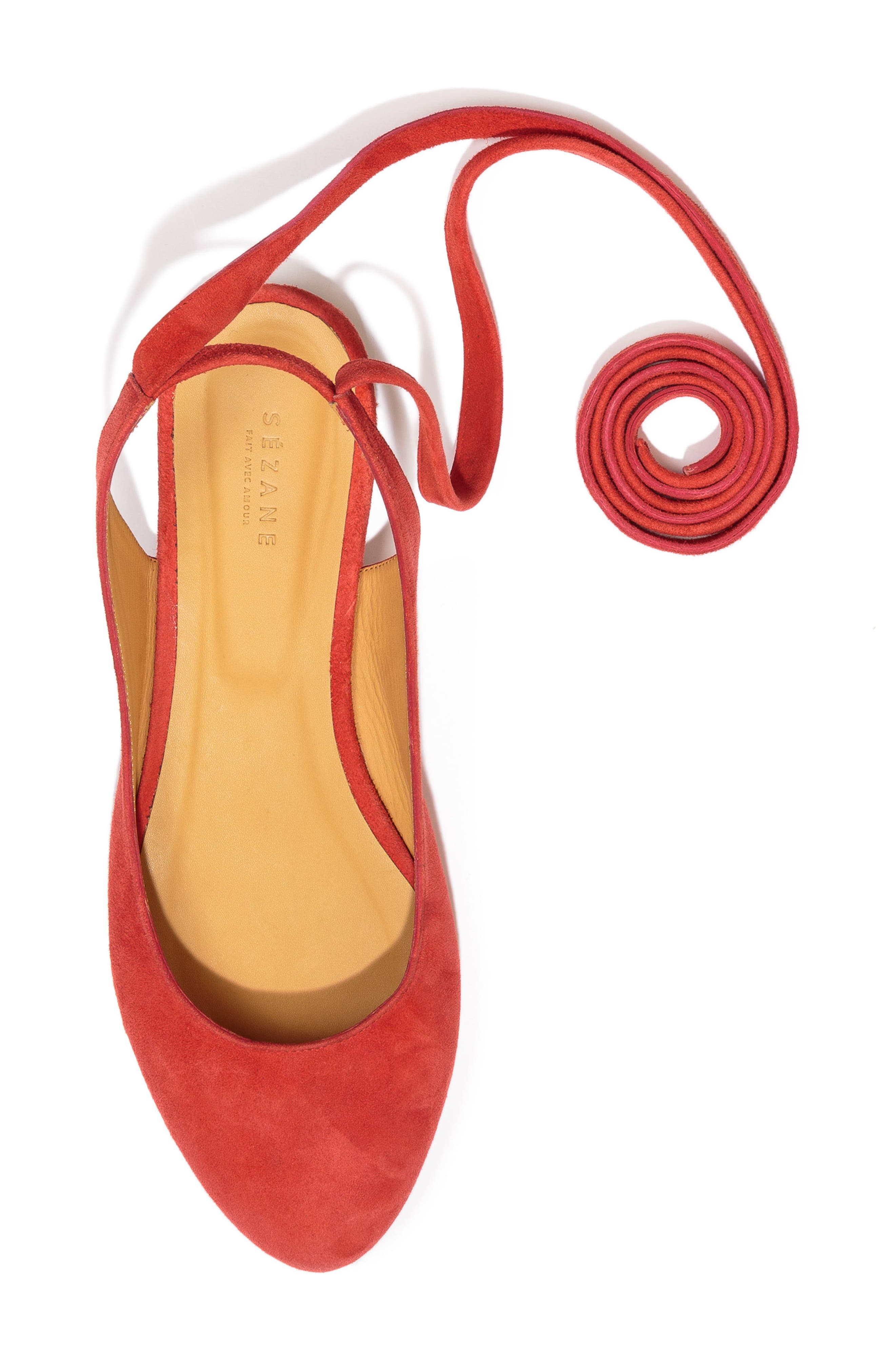 Nina Ballerina Ankle Wrap Flat,                             Alternate thumbnail 5, color,                             Coral Red Suede
