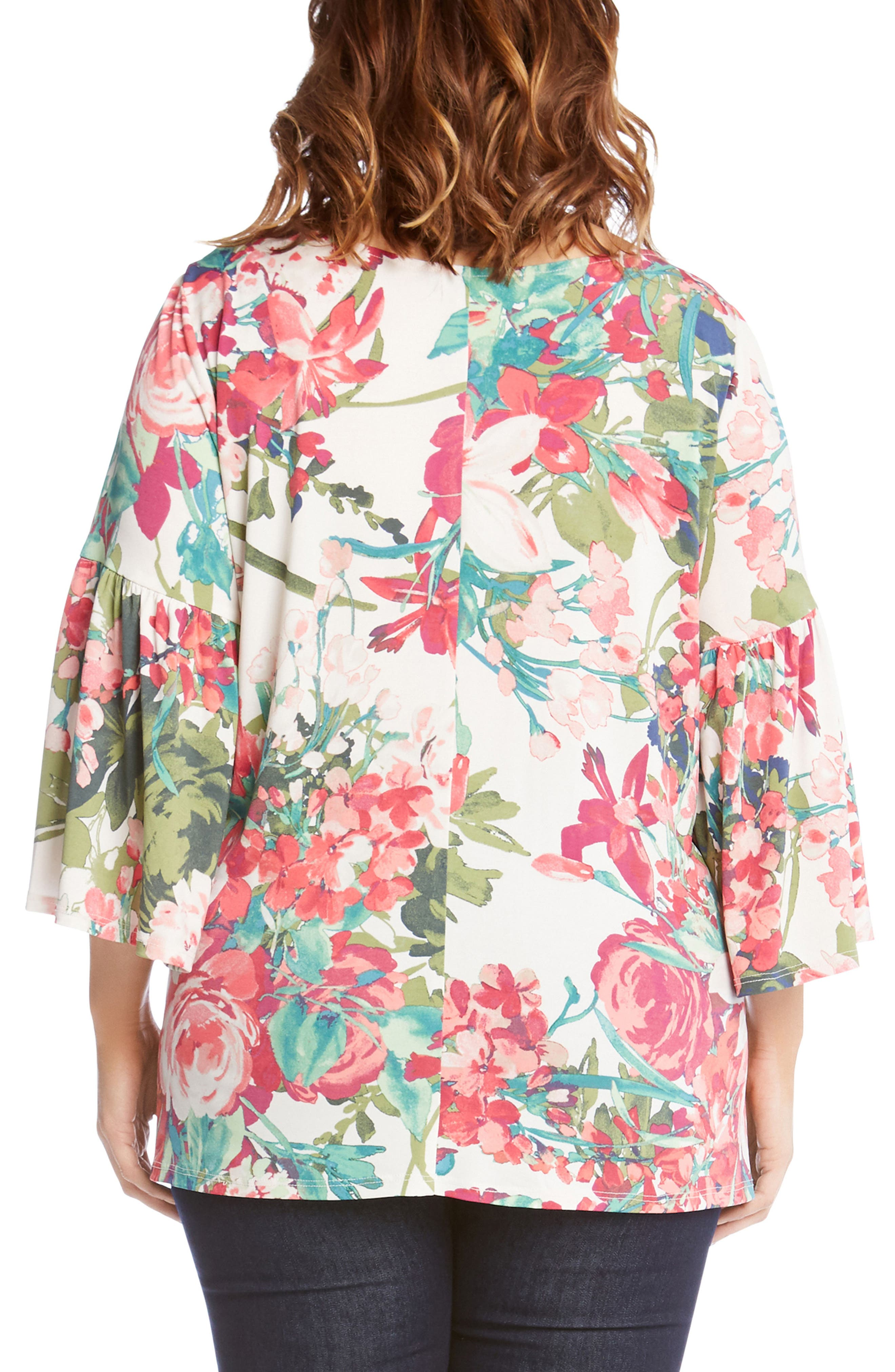 Bell Sleeve Floral Top,                             Alternate thumbnail 2, color,                             Print