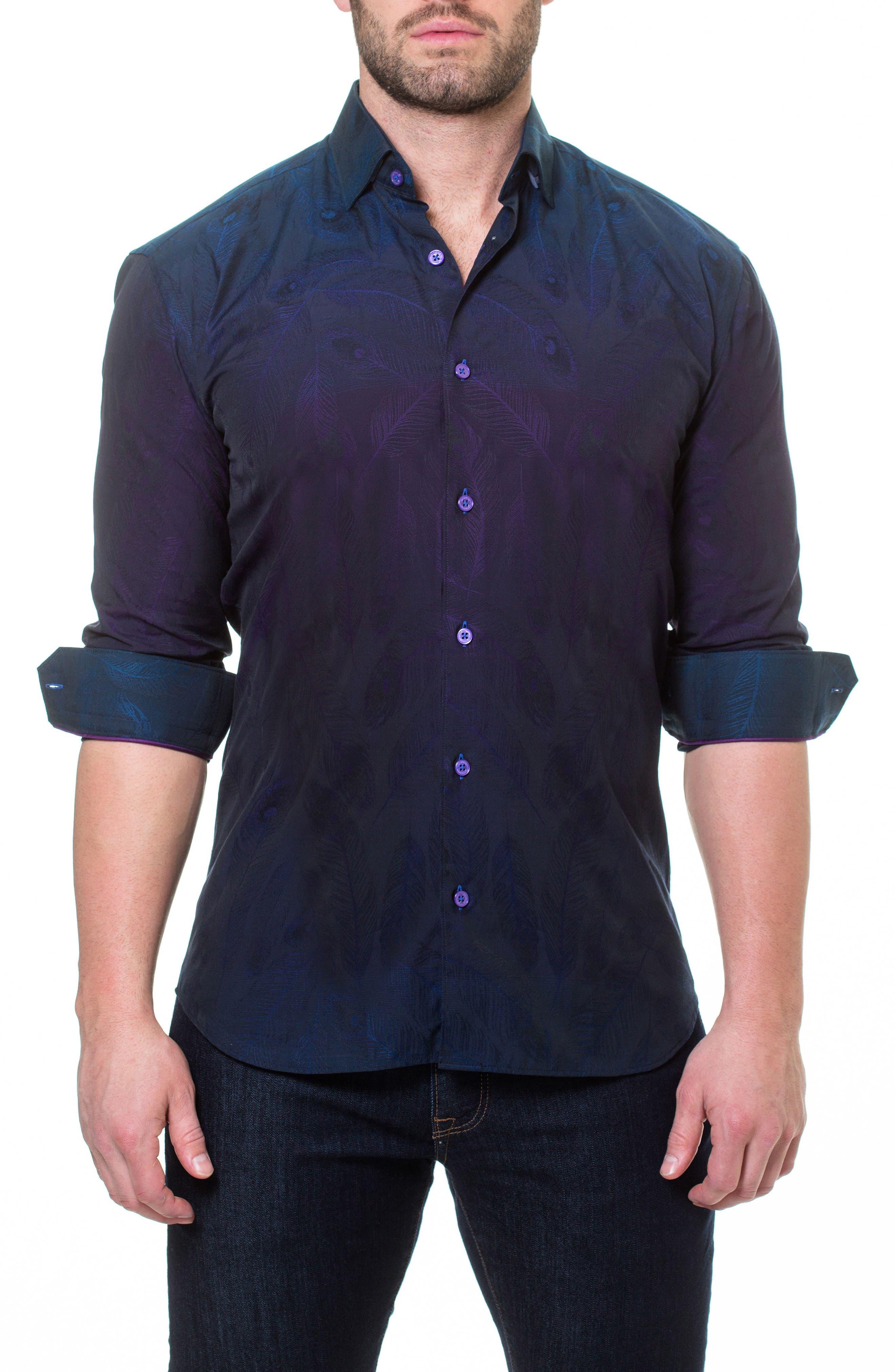 Wall Street Peacock Slim Fit Sport Shirt,                             Main thumbnail 1, color,                             Purple