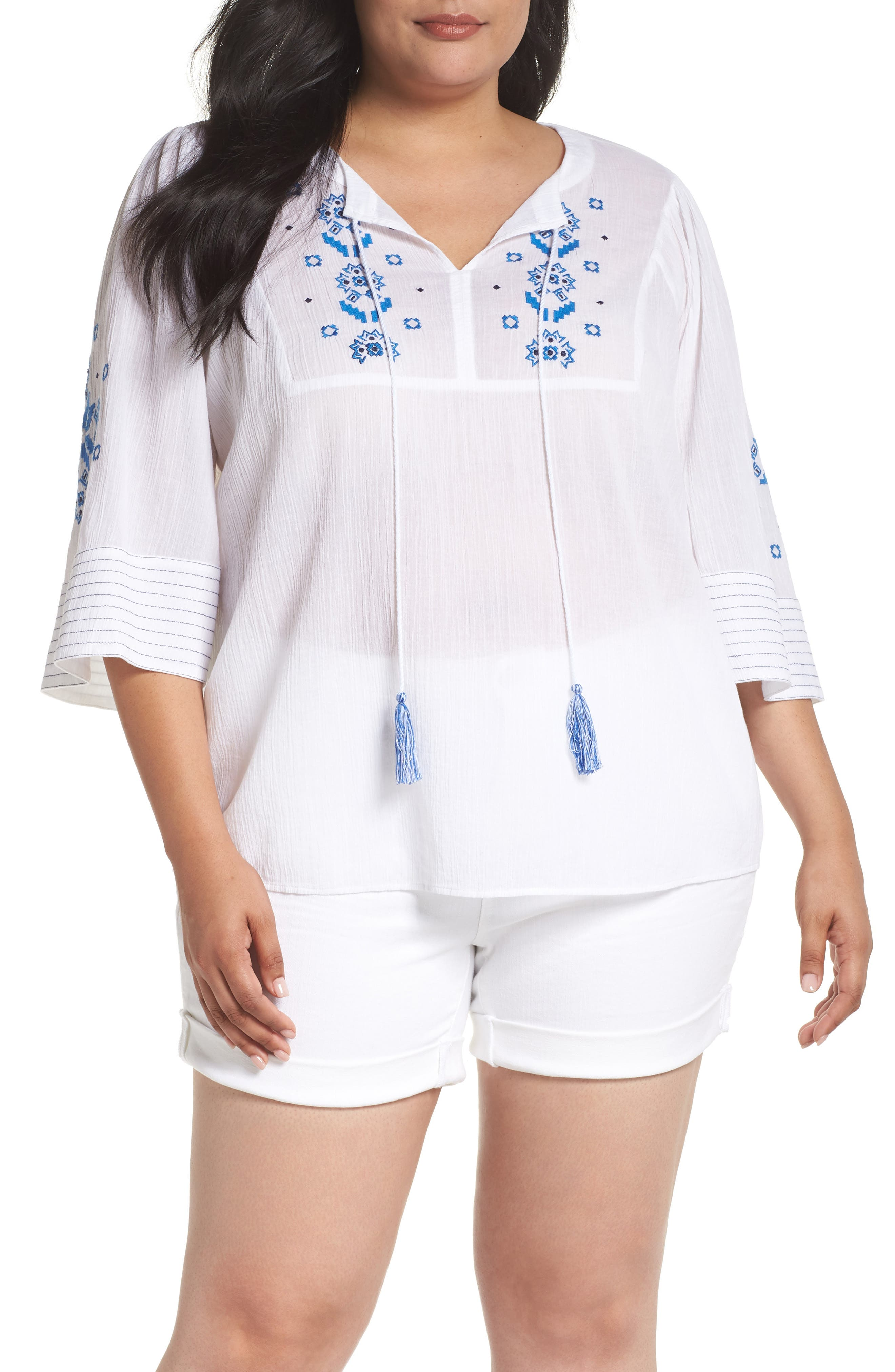 Bell Sleeve Embroidered Top,                         Main,                         color, Ultra White