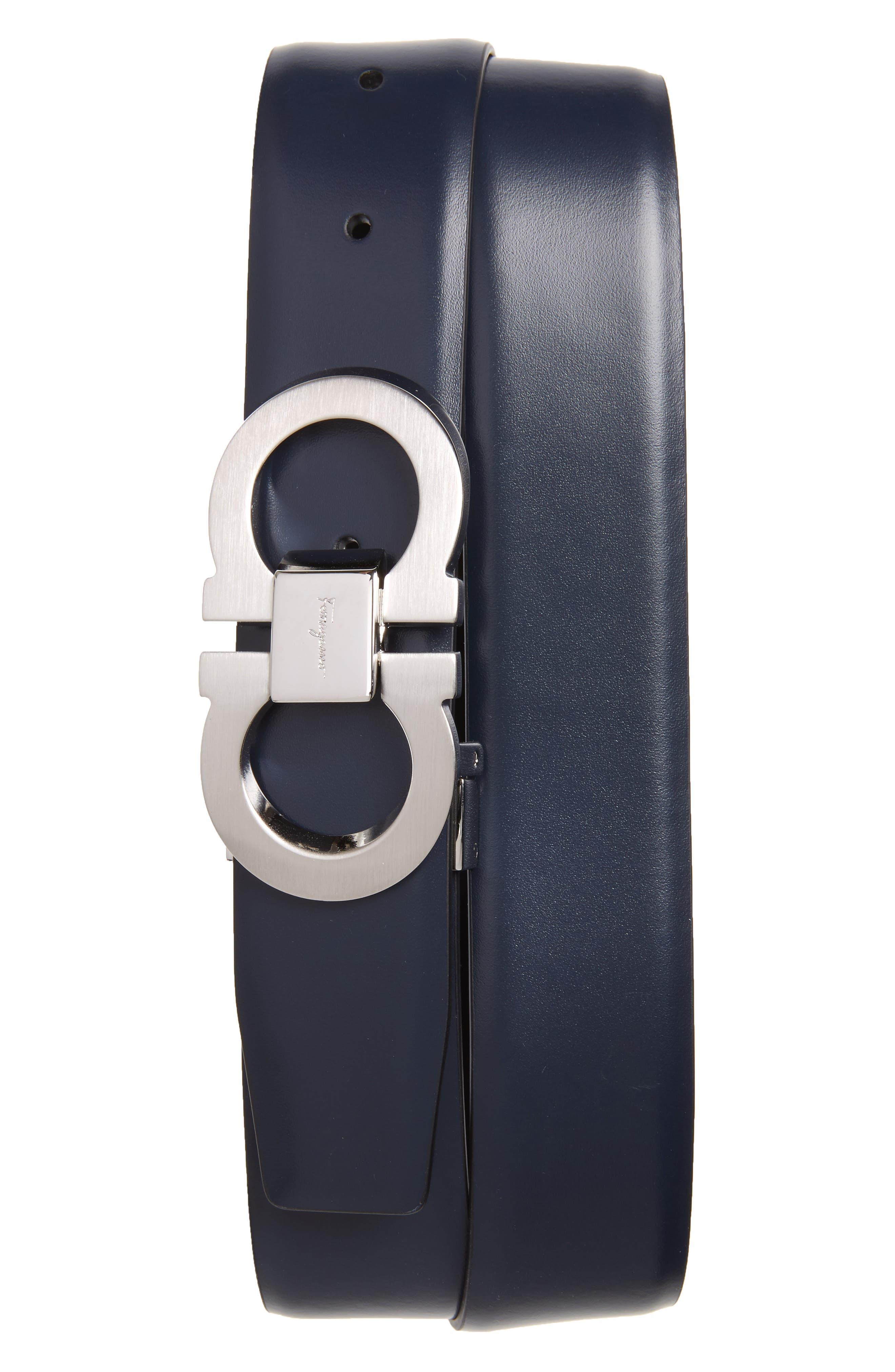 Double Gancio Reversible Leather Belt,                         Main,                         color, Blue Marine/ Black