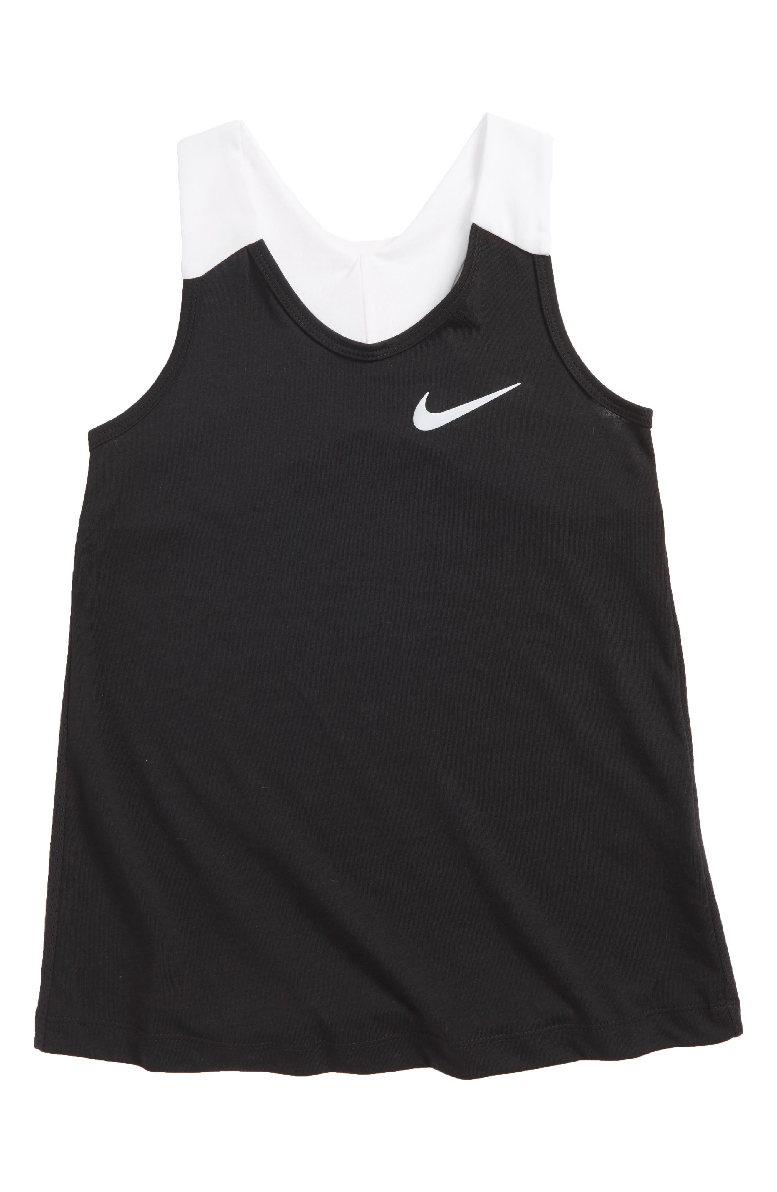 Dry Racerback Tank,                         Main,                         color, Black/ White