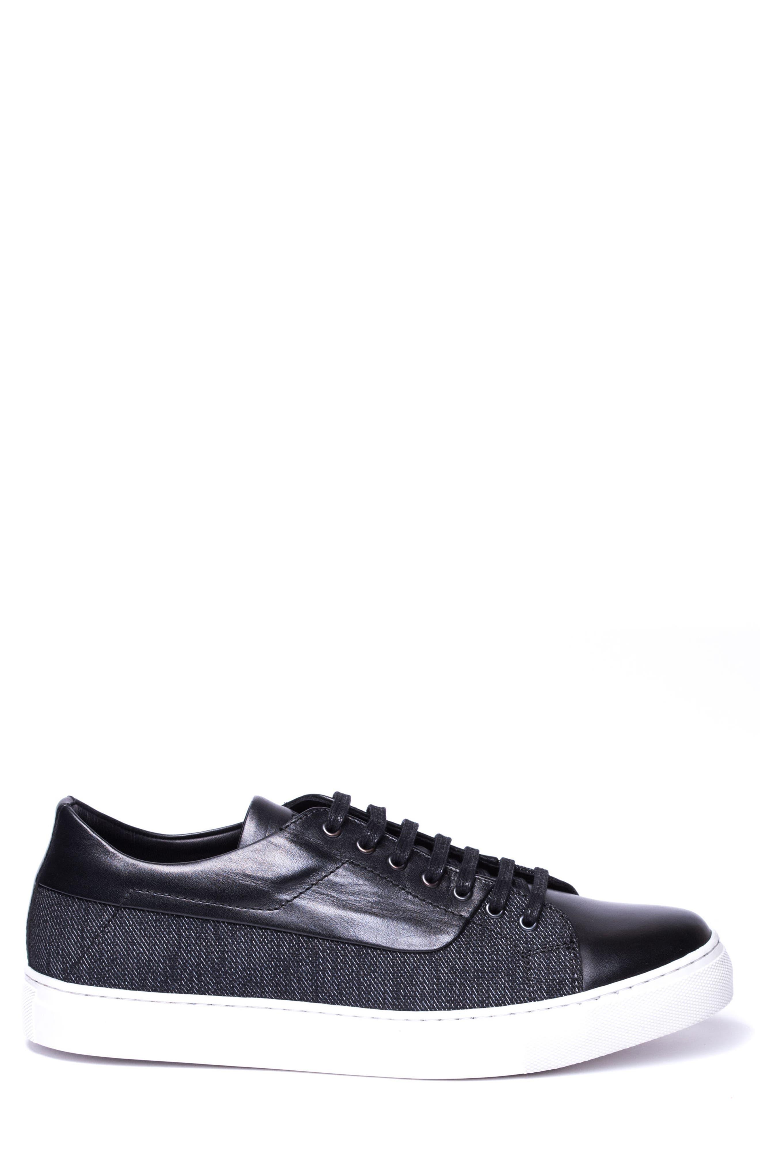 Luke Low Top Sneaker,                             Alternate thumbnail 3, color,                             Black Leather