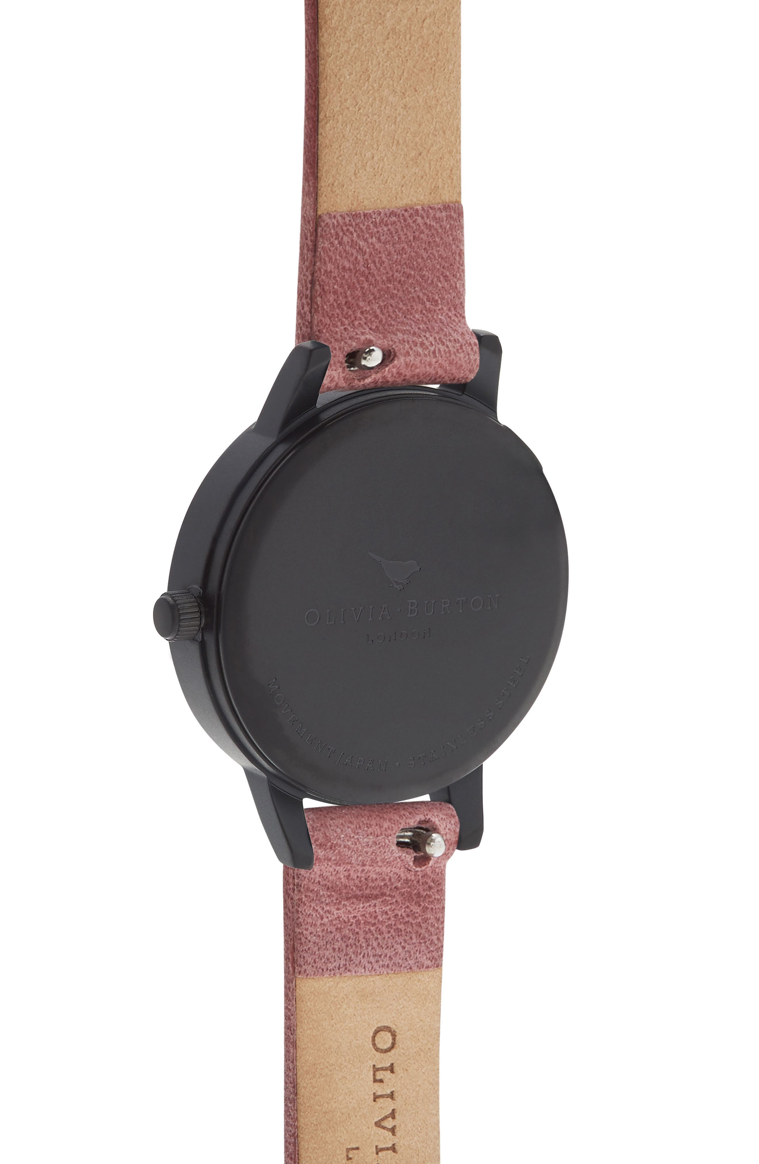 After Dark Leather Strap Watch, 30mm,                             Alternate thumbnail 2, color,                             Rose/ Floral/ Black