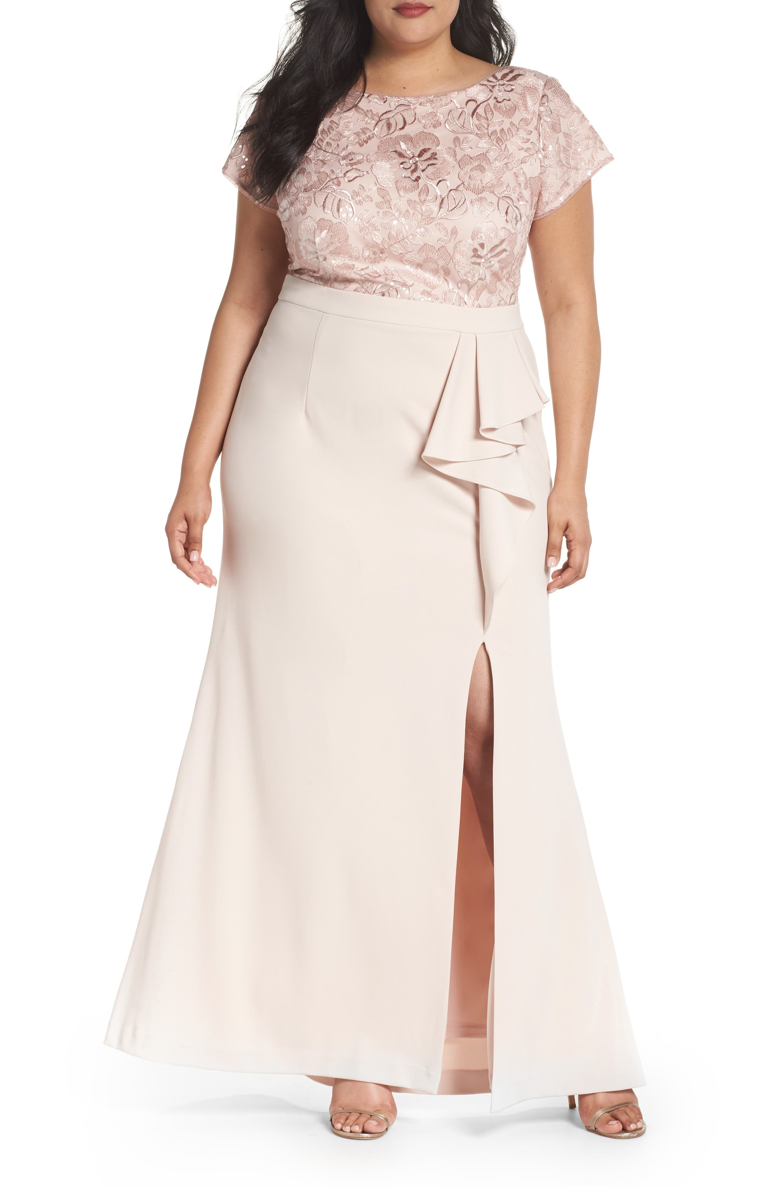 Sequin Embroidered Bodice Gown,                             Main thumbnail 1, color,                             Blush
