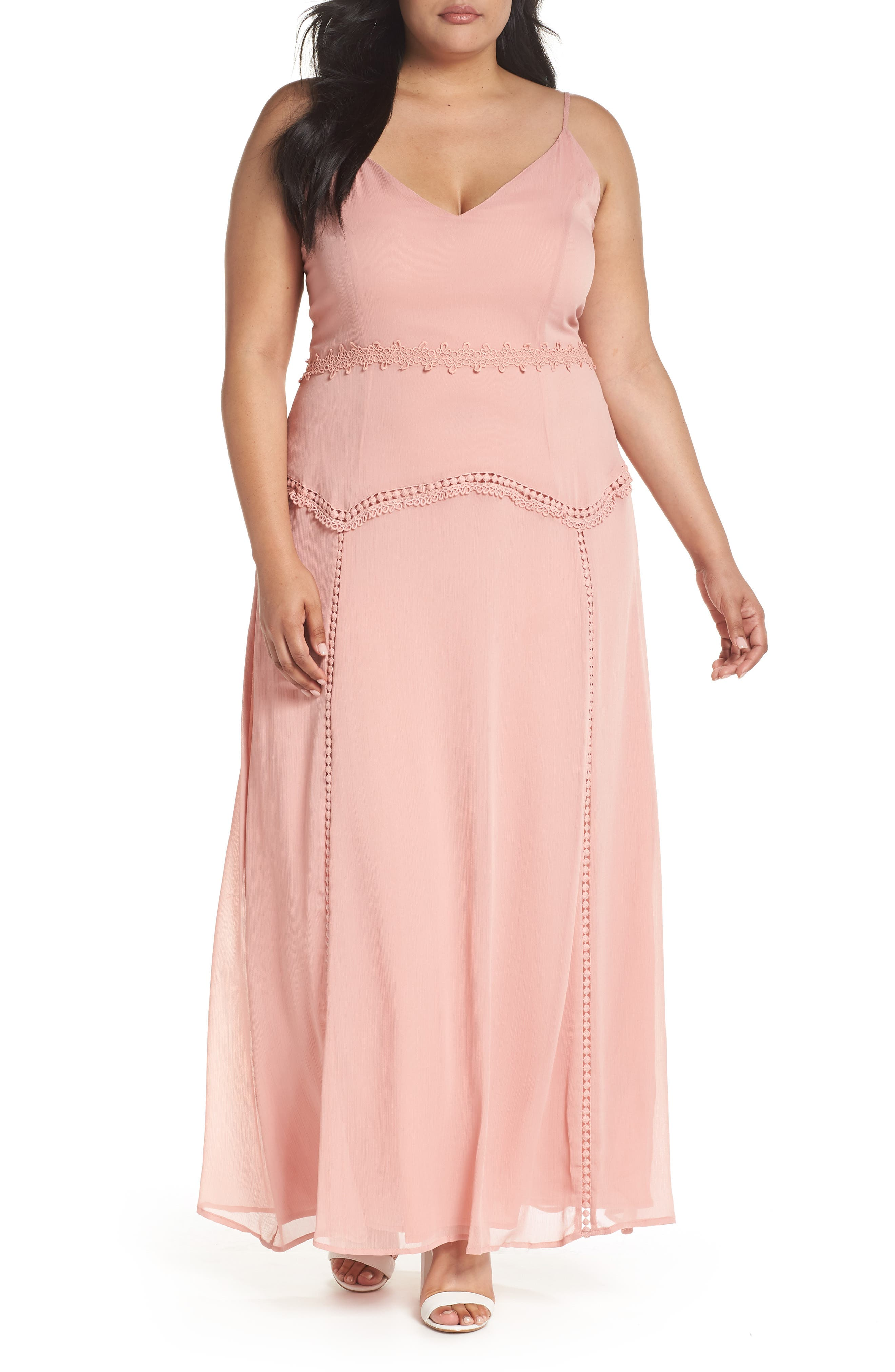 Alternate Image 1 Selected - LOST INK Picot Trim Maxi Dress (Encore)