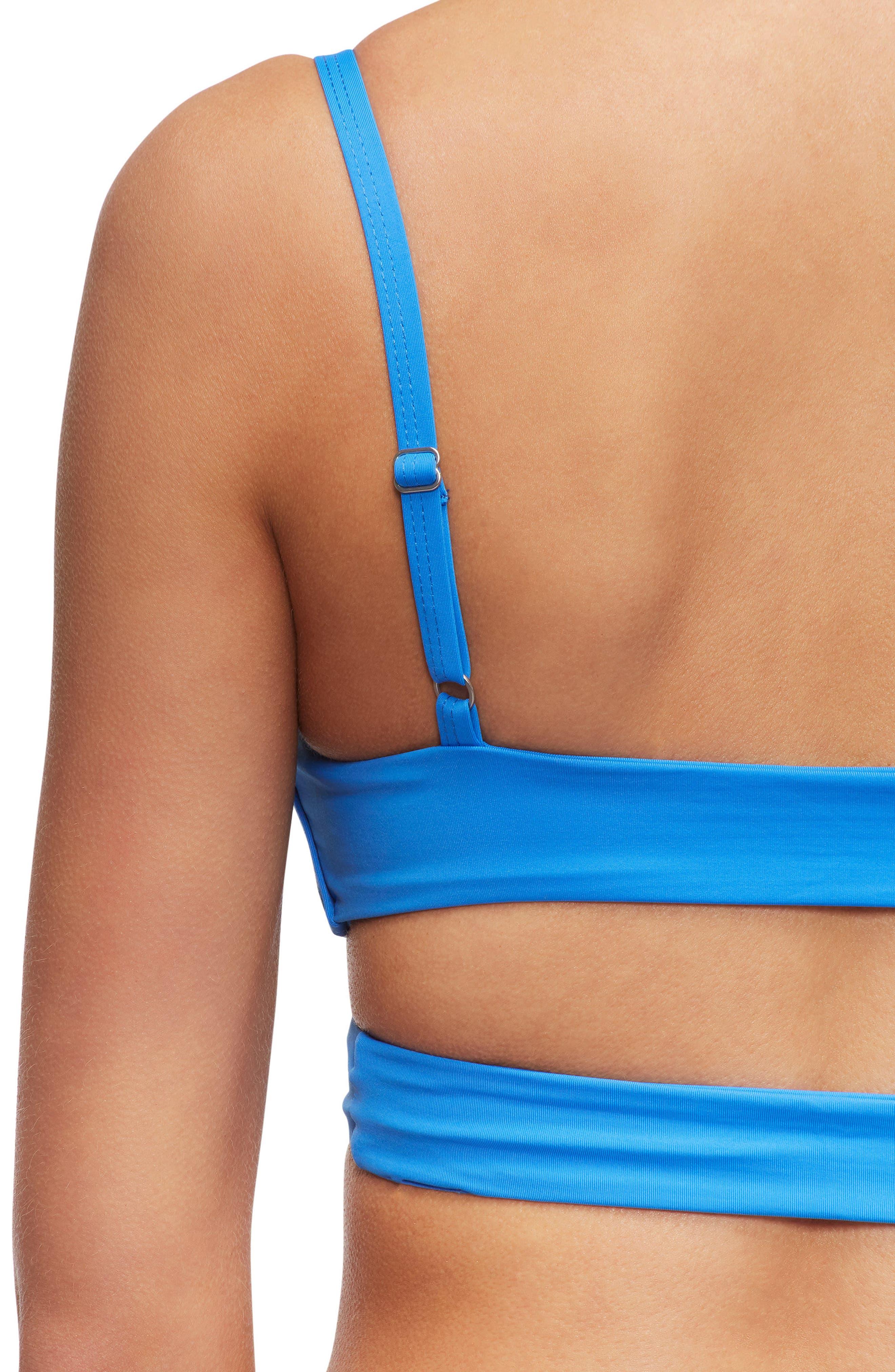 'Jessi' Cutout Triangle Bikini Top,                             Alternate thumbnail 4, color,                             French Blue