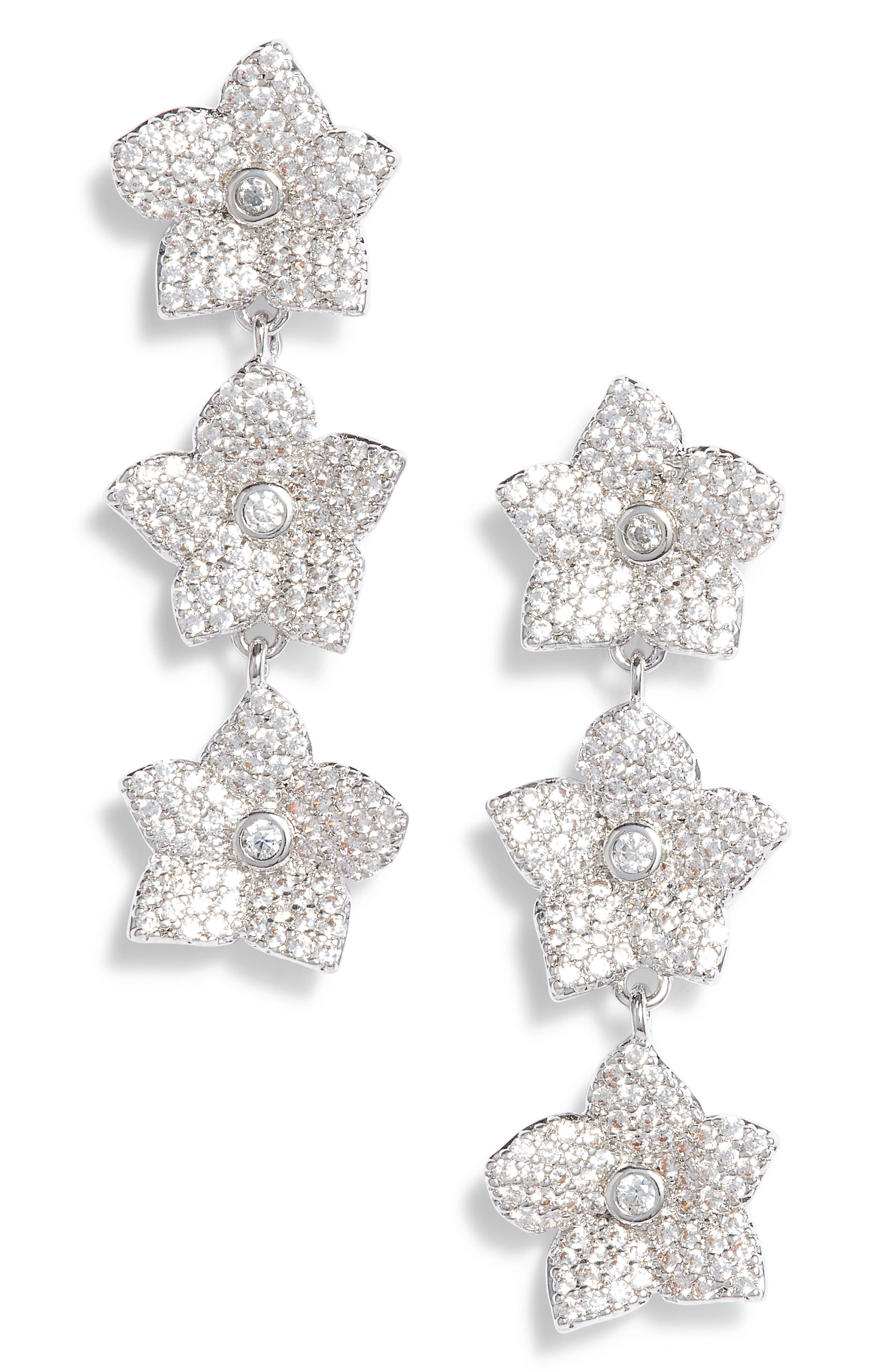 blooming pavé linear earrings,                         Main,                         color, Clear/ Silver