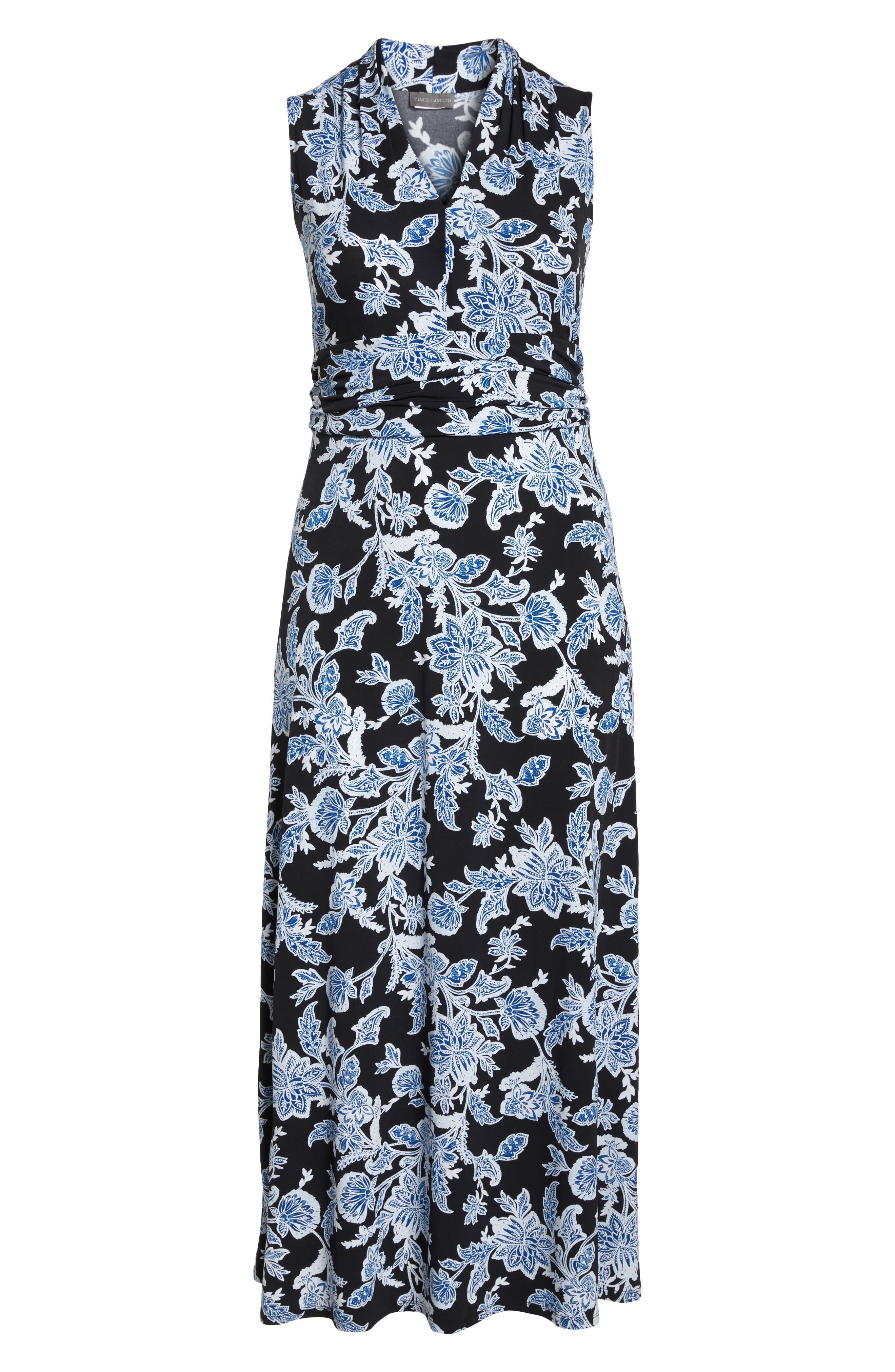 Woodblock Floral Maxi Dress,                             Alternate thumbnail 7, color,                             Rich Black
