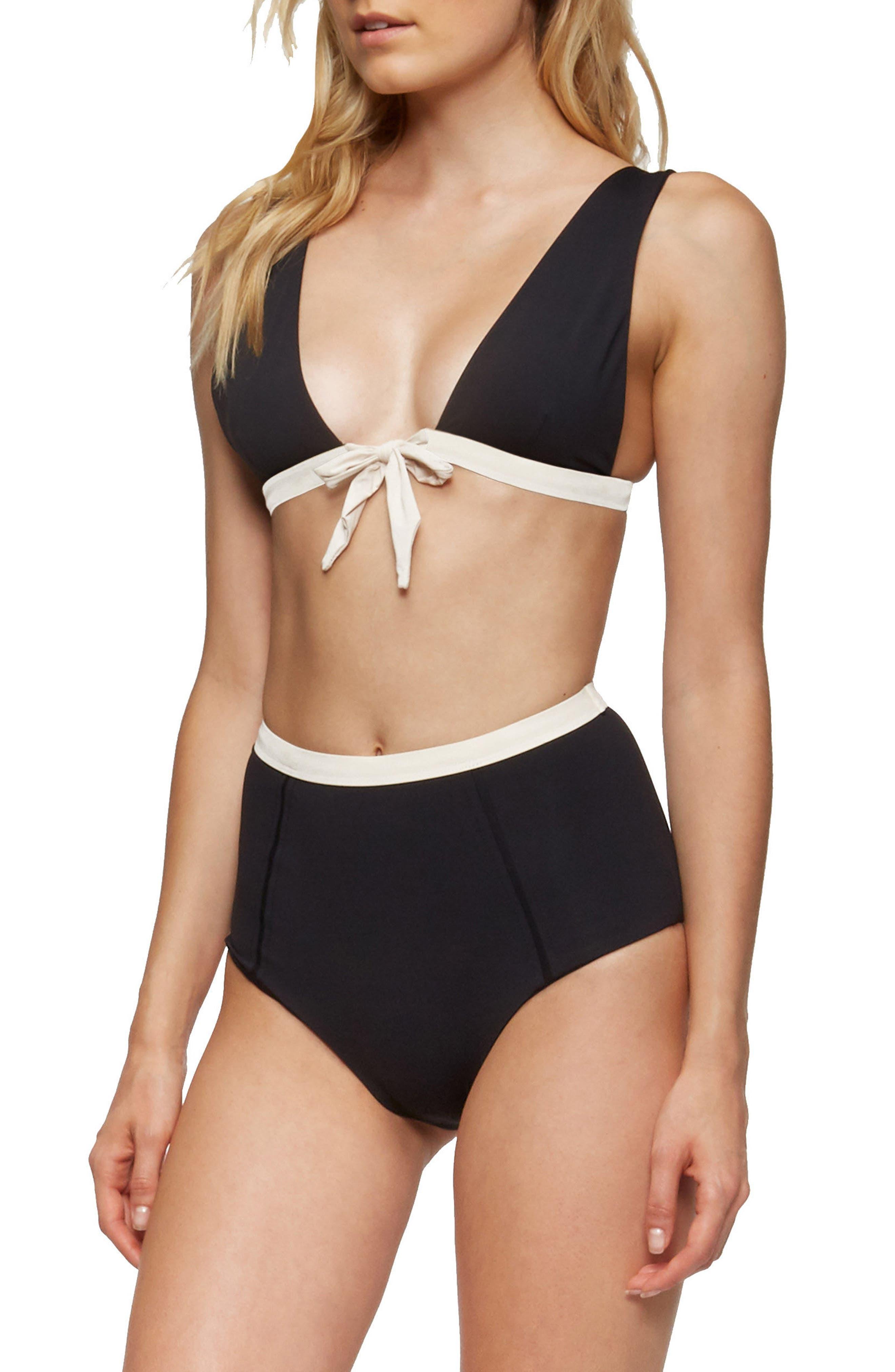 Caroline Bikini Top,                             Alternate thumbnail 3, color,                             Black/ Tapioca
