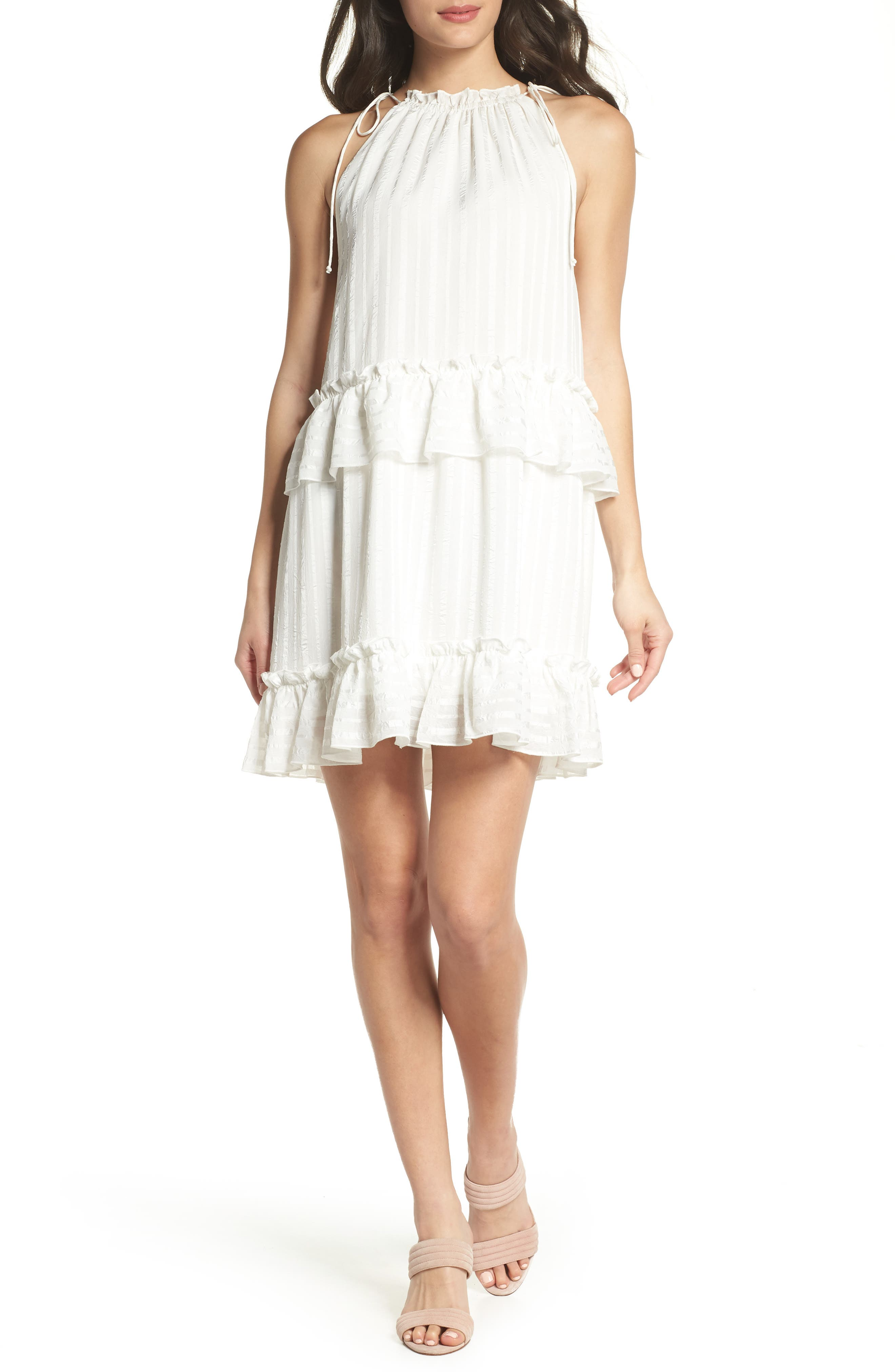NSR Lila Stripe Chiffon Halter Dress