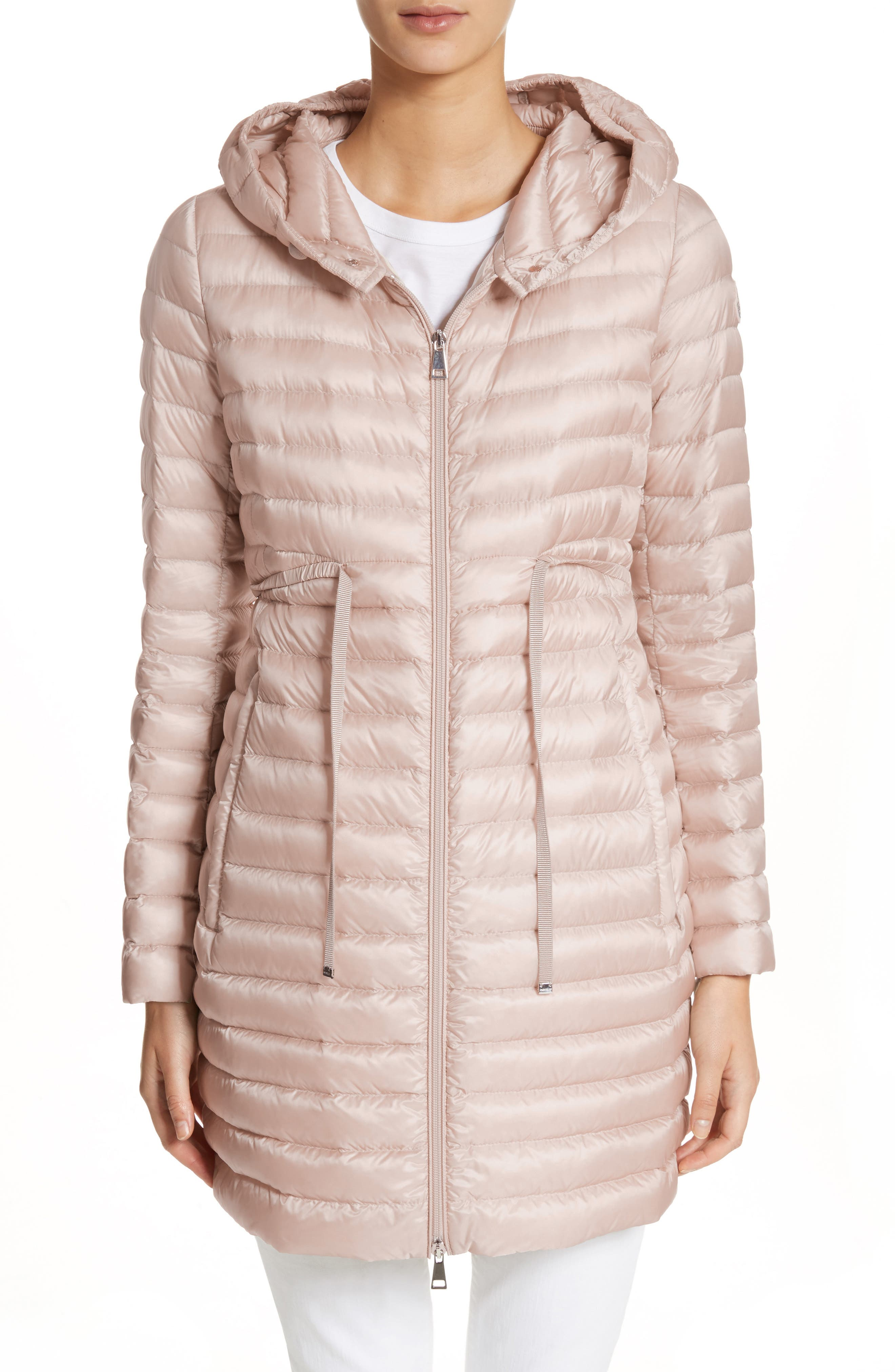 Barbel Water Resistant Long Hooded Down Jacket,                             Main thumbnail 1, color,                             Blush