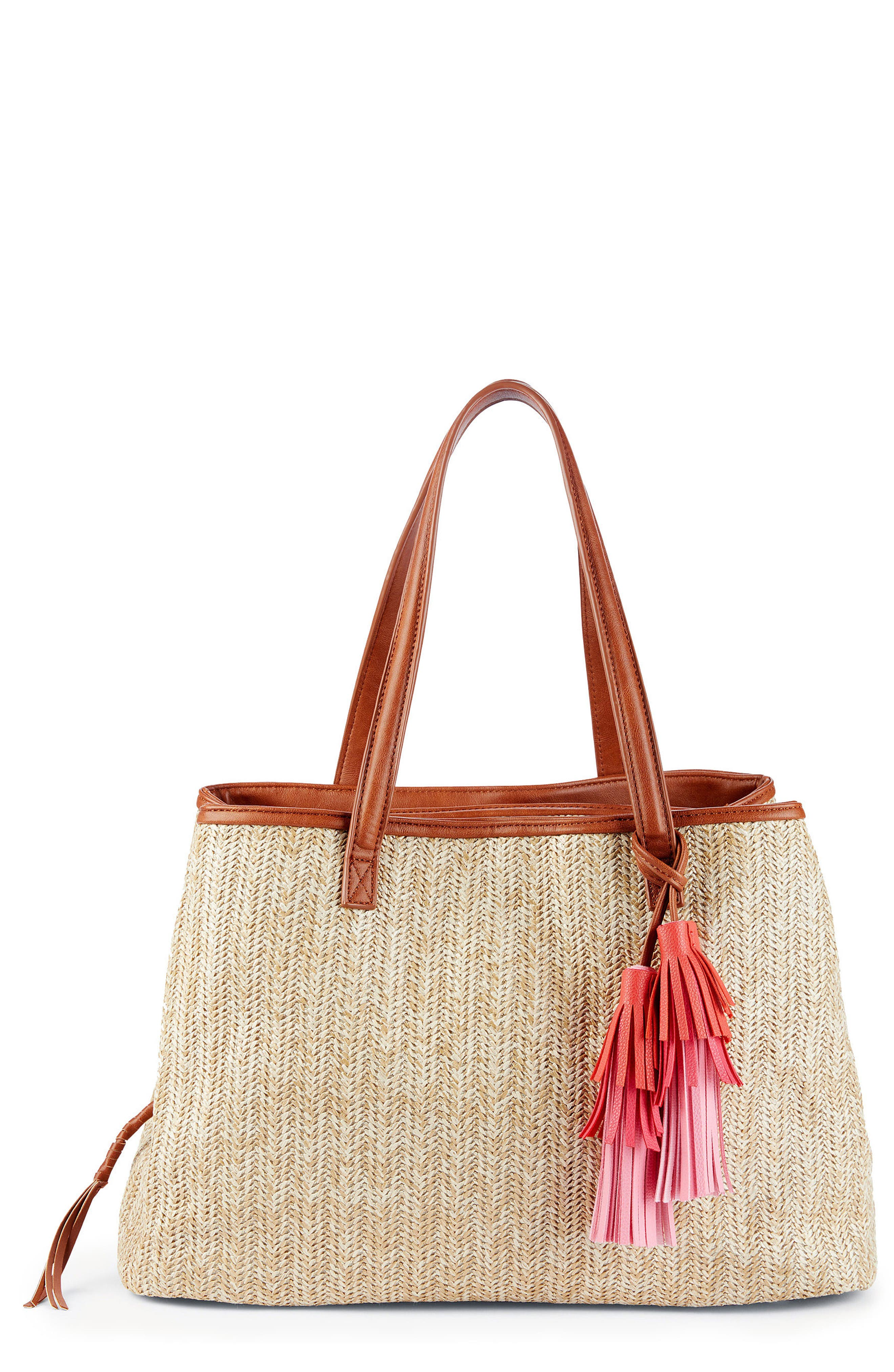 Pipper Faux Leather Tote,                             Main thumbnail 1, color,                             Natural