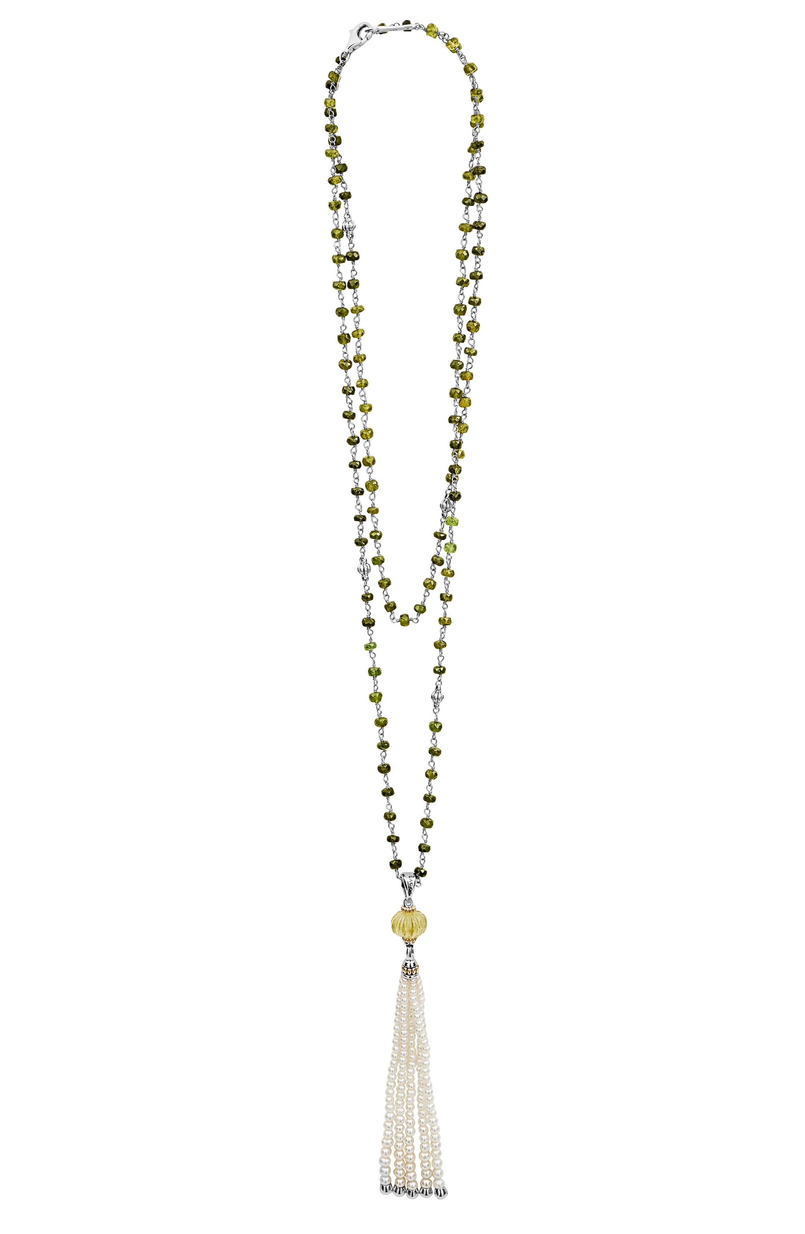 Caviar Forever Gemstone Tassel Pendant Necklace,                             Main thumbnail 1, color,                             Silver/ Olive Quartz