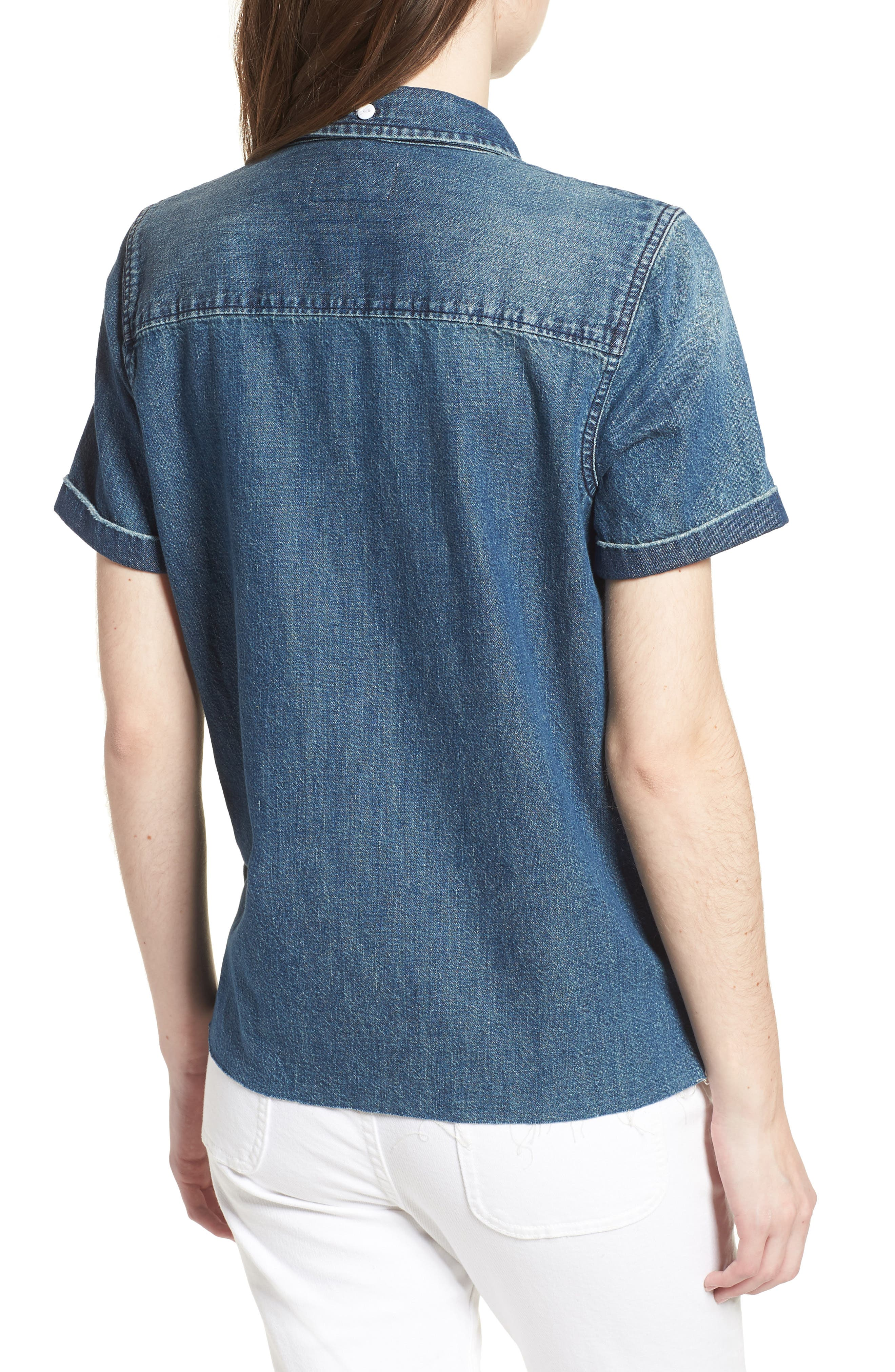 The Lu Denim Shirt,                             Alternate thumbnail 2, color,                             Conifer Wash