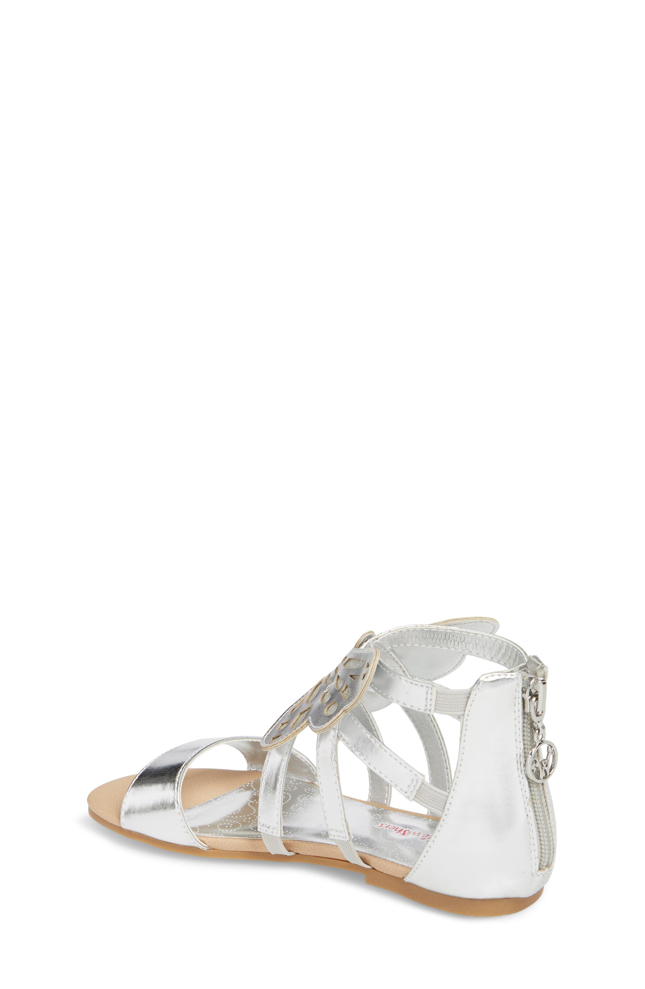 Willa Flutter Metallic Sandal,                             Alternate thumbnail 2, color,                             Silver Metallic