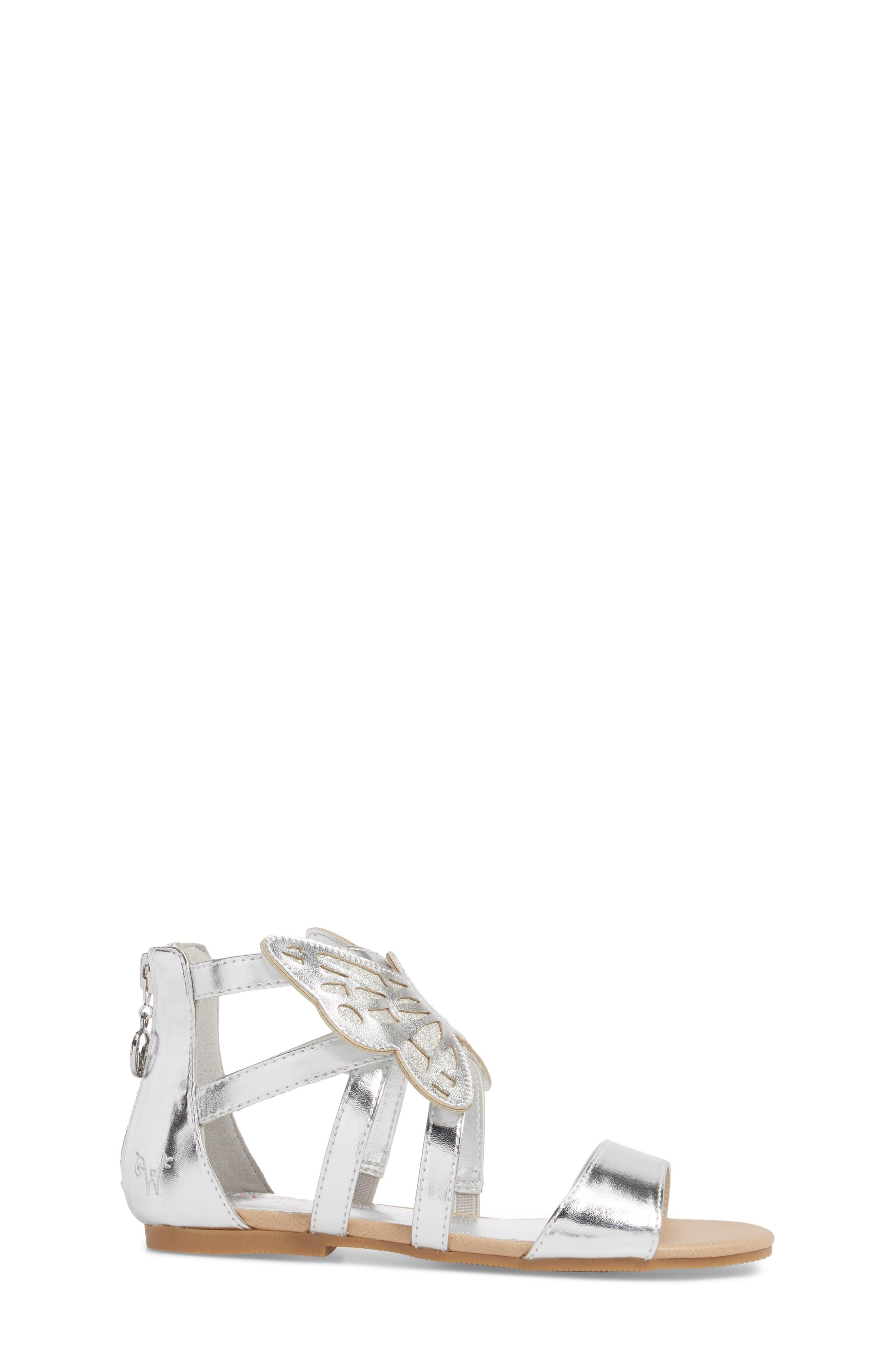 Willa Flutter Metallic Sandal,                             Alternate thumbnail 3, color,                             Silver Metallic