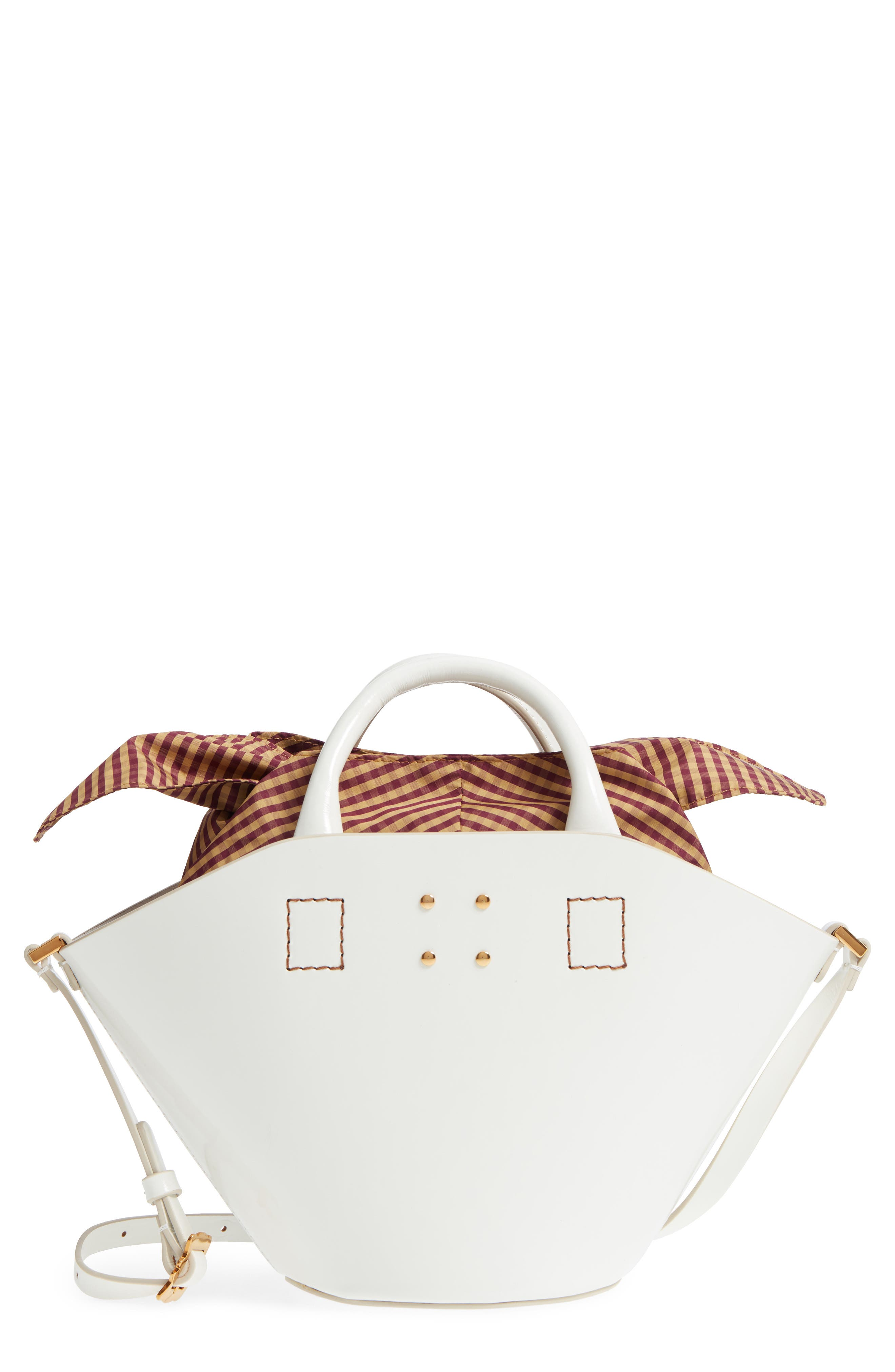 Small Leather Bucket Bag,                         Main,                         color, White