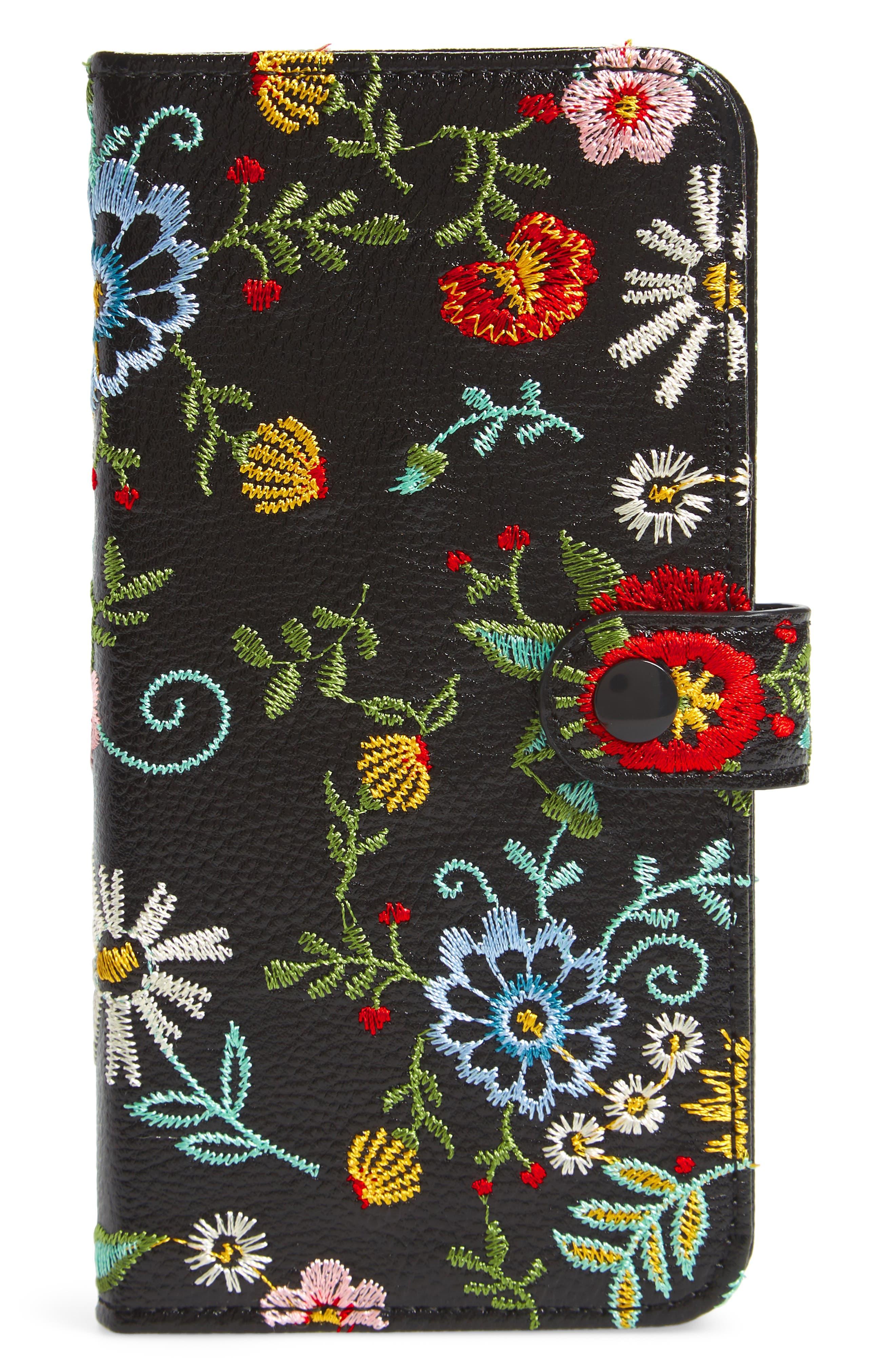 Jardin iPhone 7/8 & 7/8 Plus Wallet,                             Main thumbnail 1, color,                             Black Multi