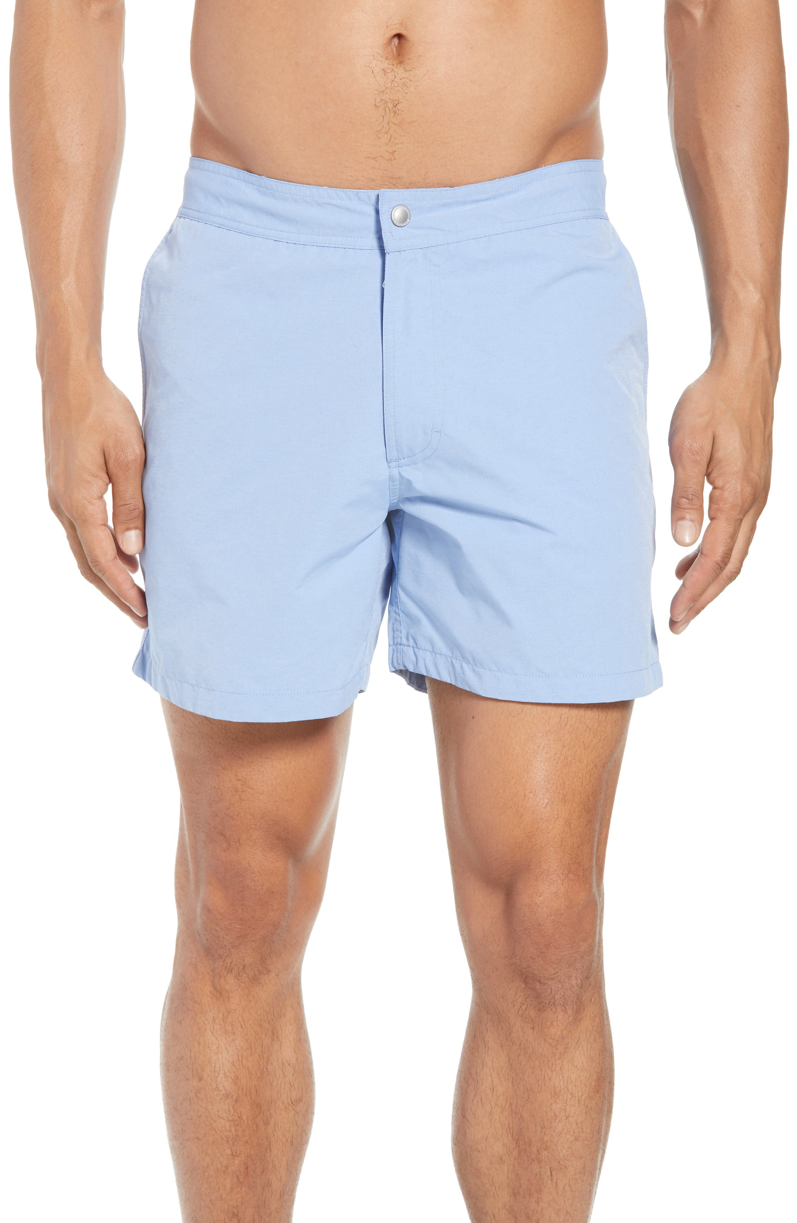 Solid 5-Inch Swim Trunks,                             Main thumbnail 1, color,                             Blue Chambray