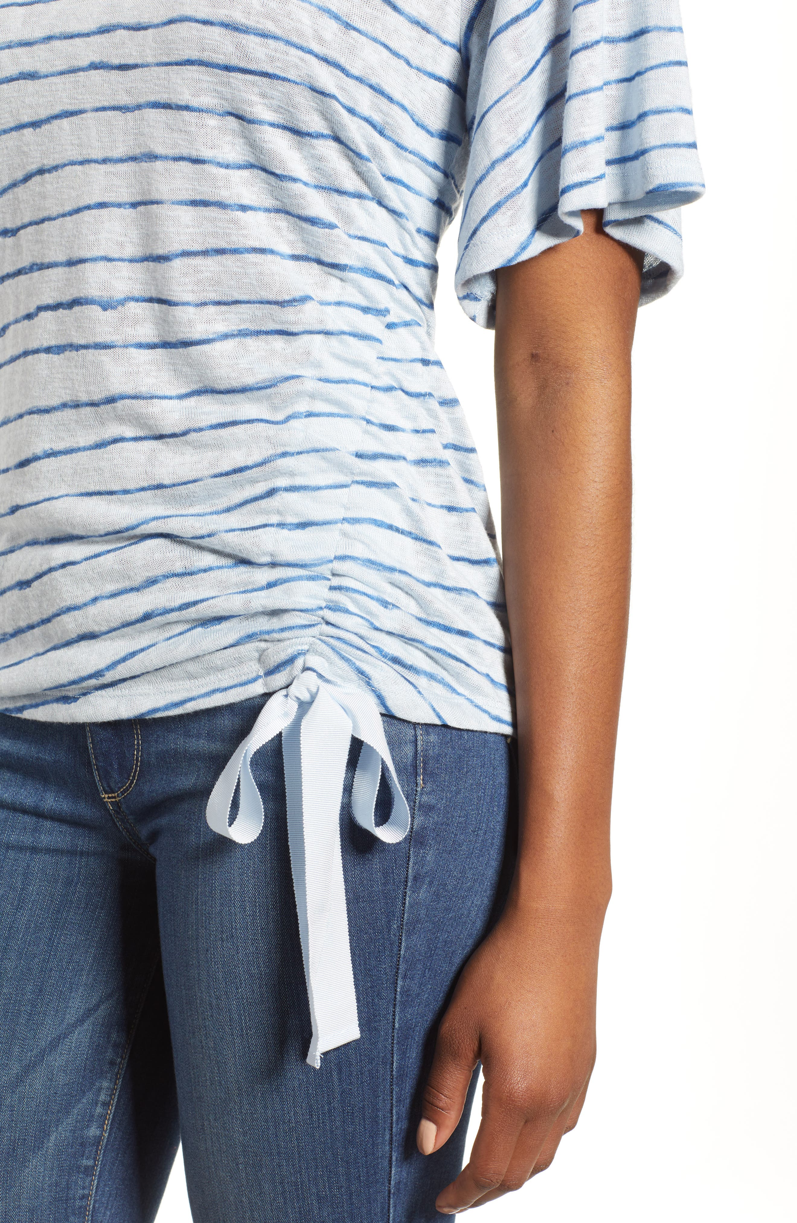 Ruched Side Ribbon Tee,                             Alternate thumbnail 4, color,                             Starlight