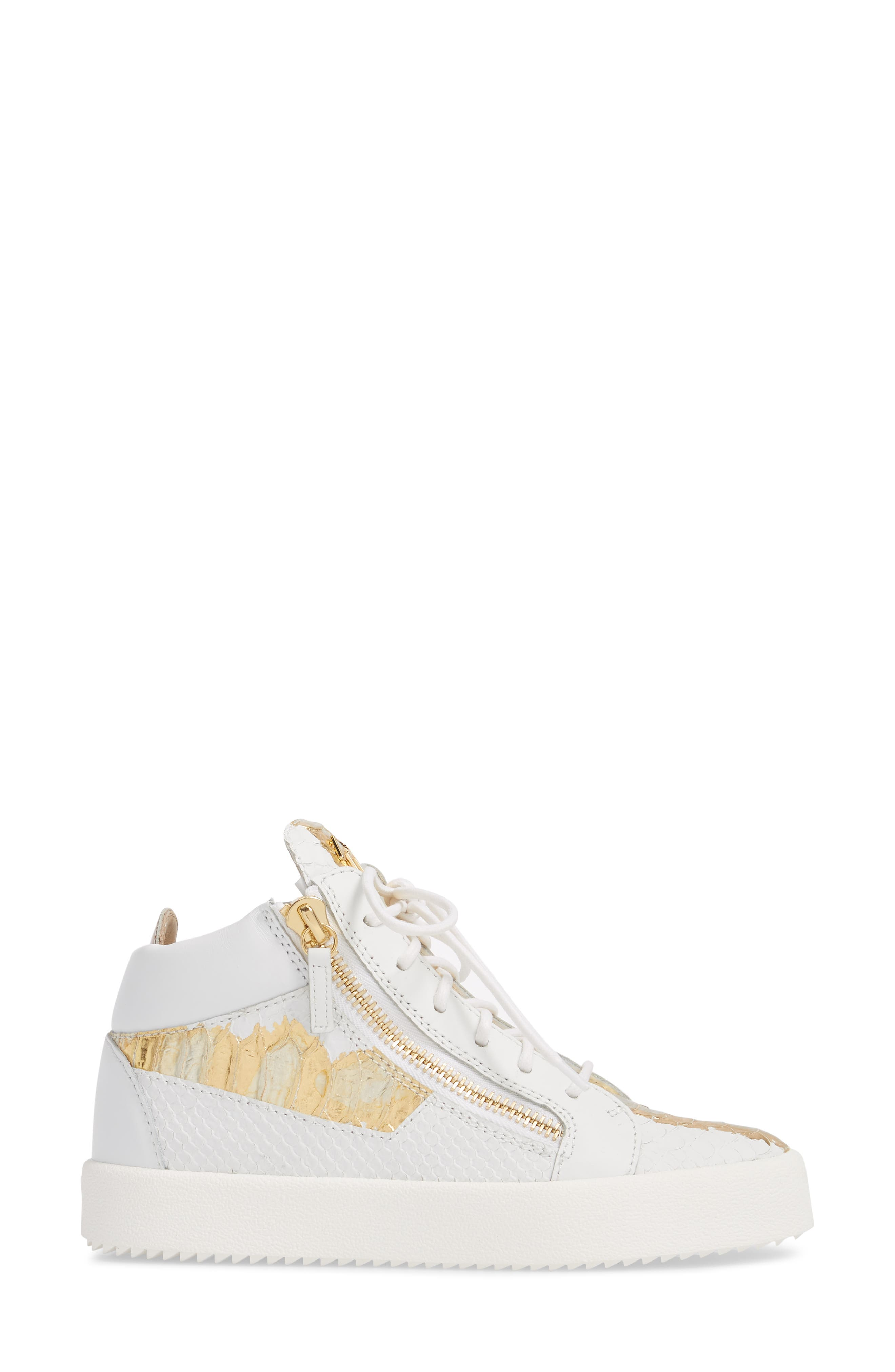 May London Mid Top Sneaker,                             Alternate thumbnail 3, color,                             White/ Gold