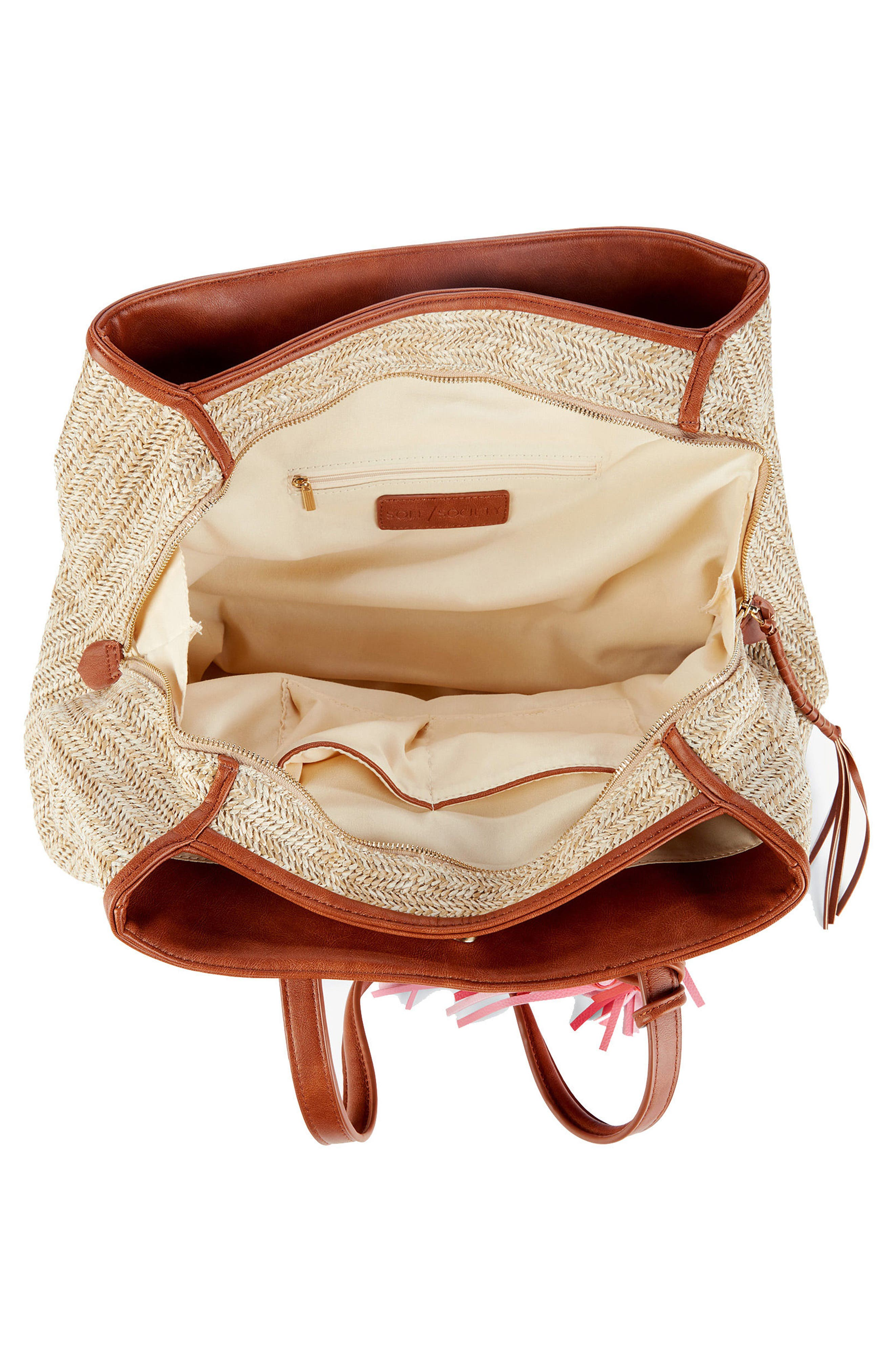 Pipper Faux Leather Tote,                             Alternate thumbnail 4, color,                             Natural