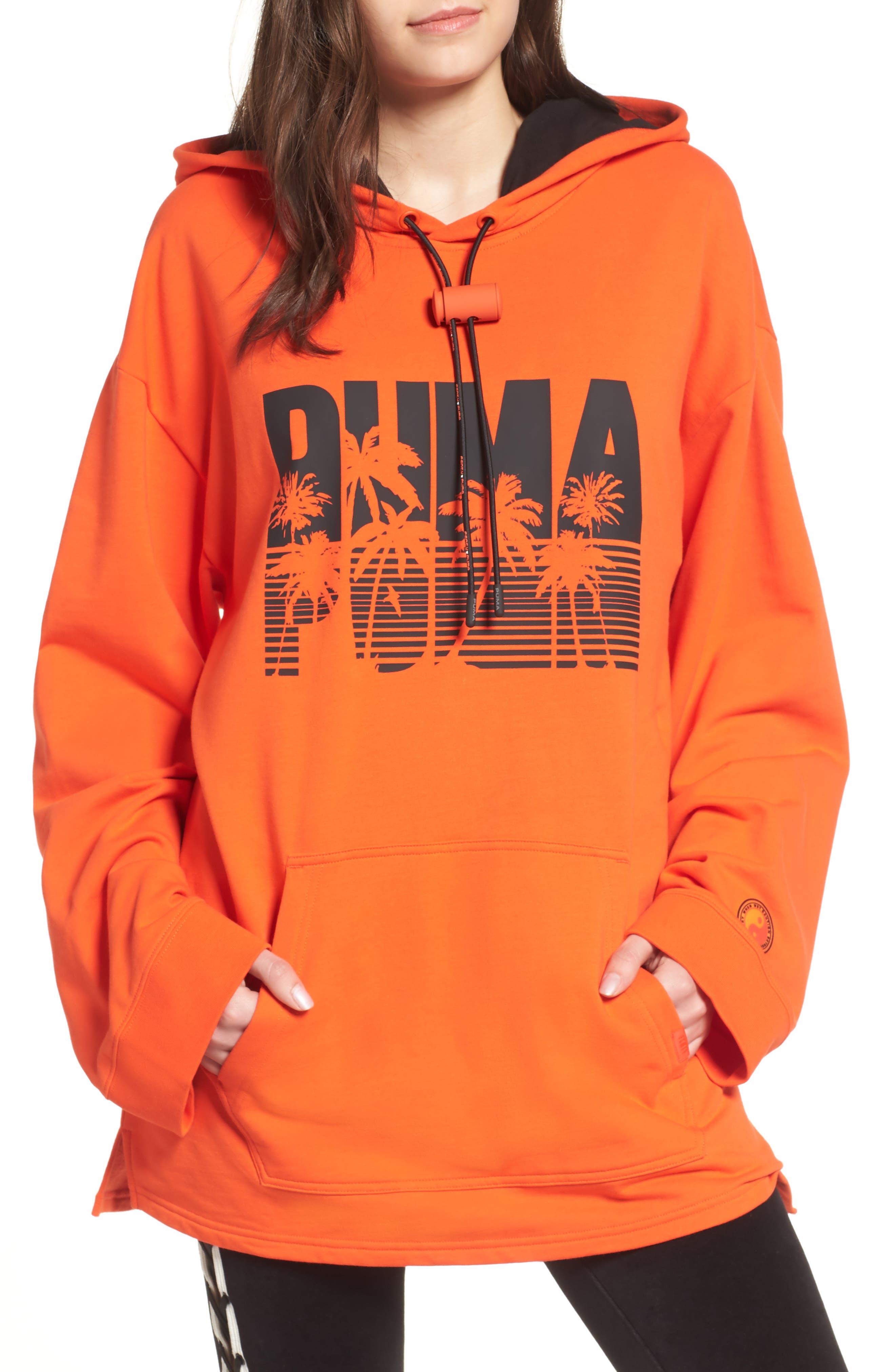 FENTY PUMA by Rihanna Back Zip Logo Hoodie,                             Main thumbnail 1, color,                             Cherry Tomato