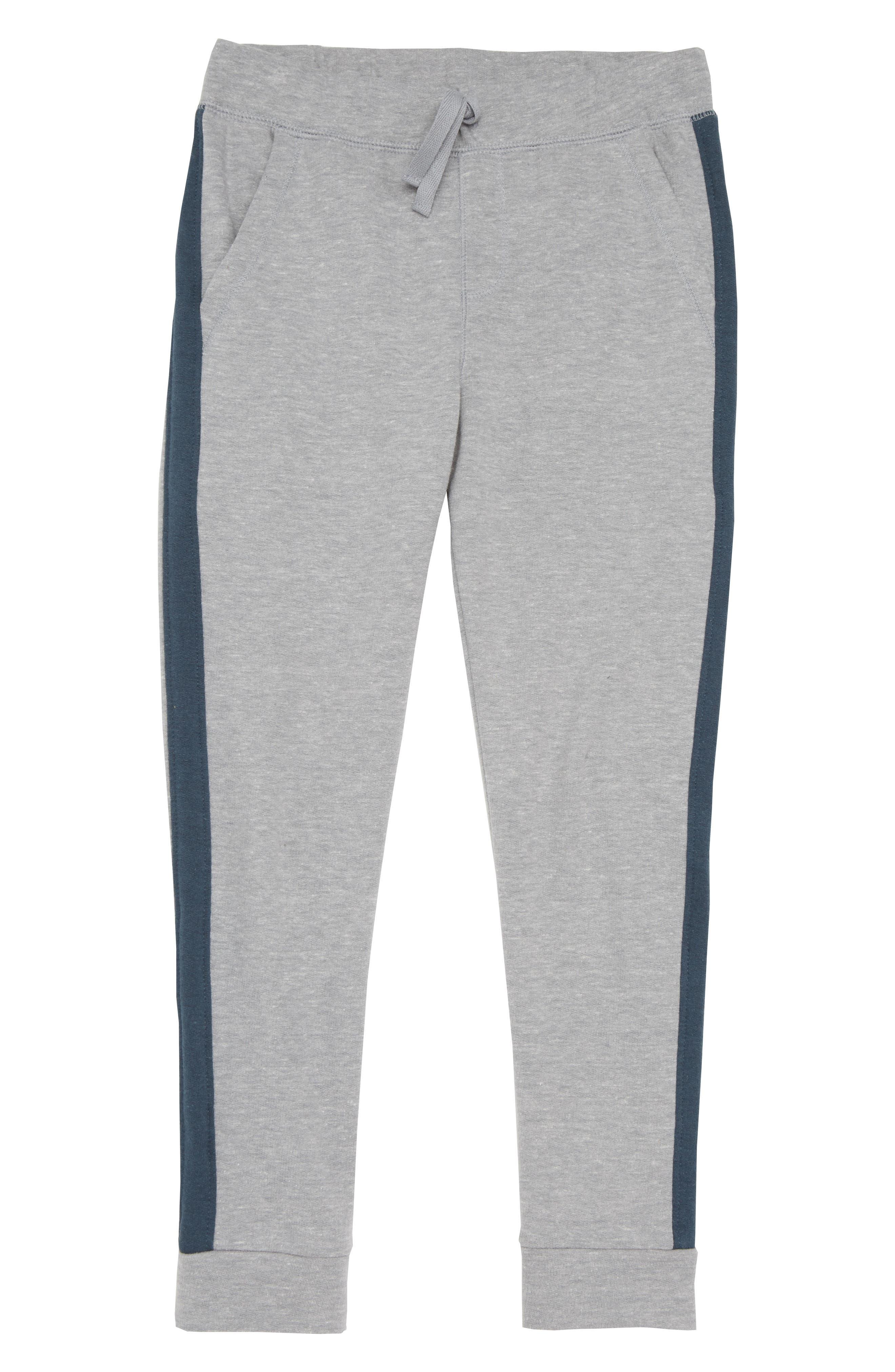 Varsity Fleece Jogger Pants,                             Main thumbnail 1, color,                             Grey Medium Heather- Navy