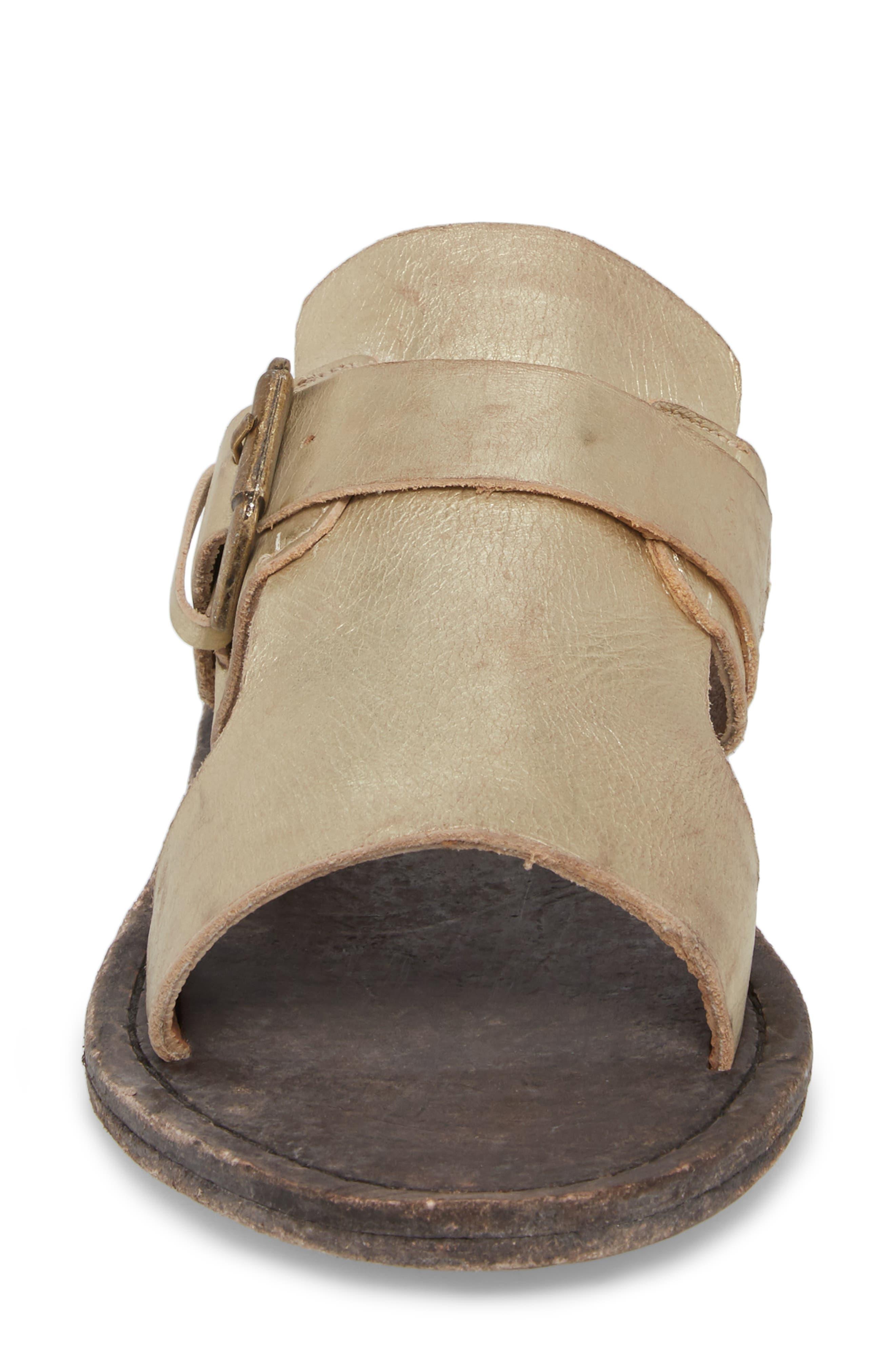 Abbie Slide Sandal,                             Alternate thumbnail 4, color,                             Gold Leather