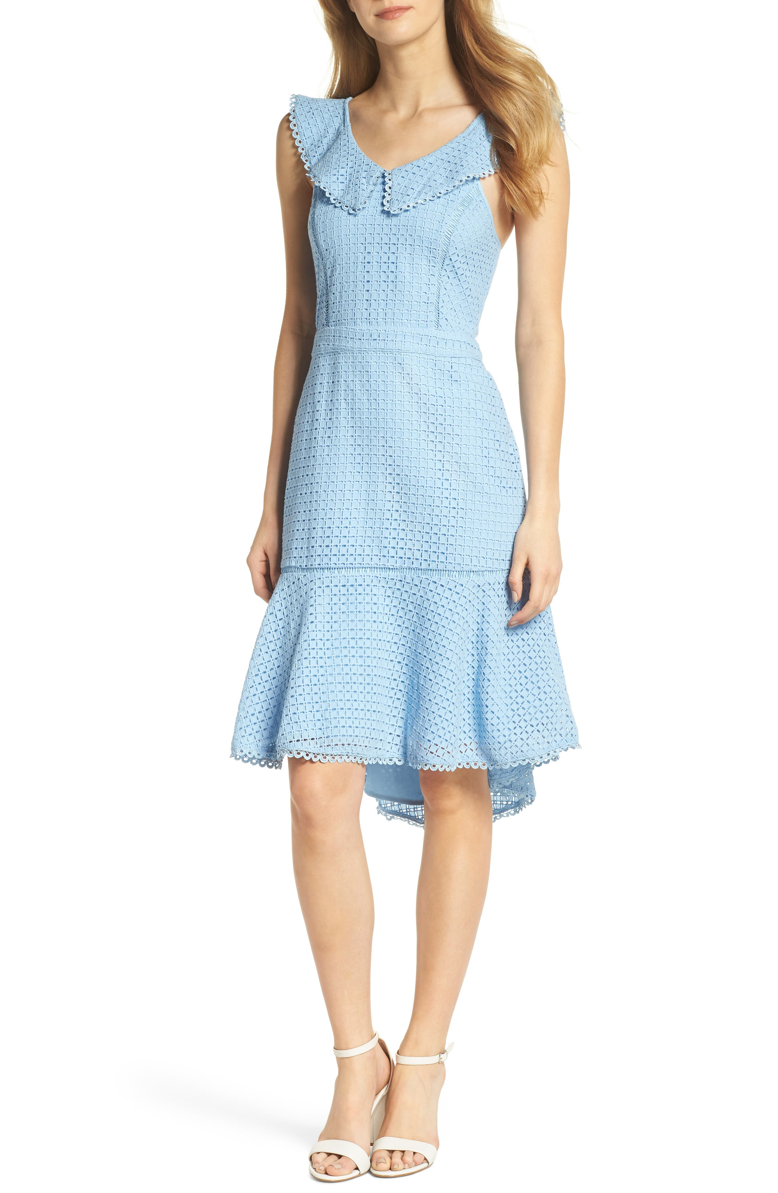 Sleeveless Eyelet Trumpet Dress,                         Main,                         color, Blue Placid