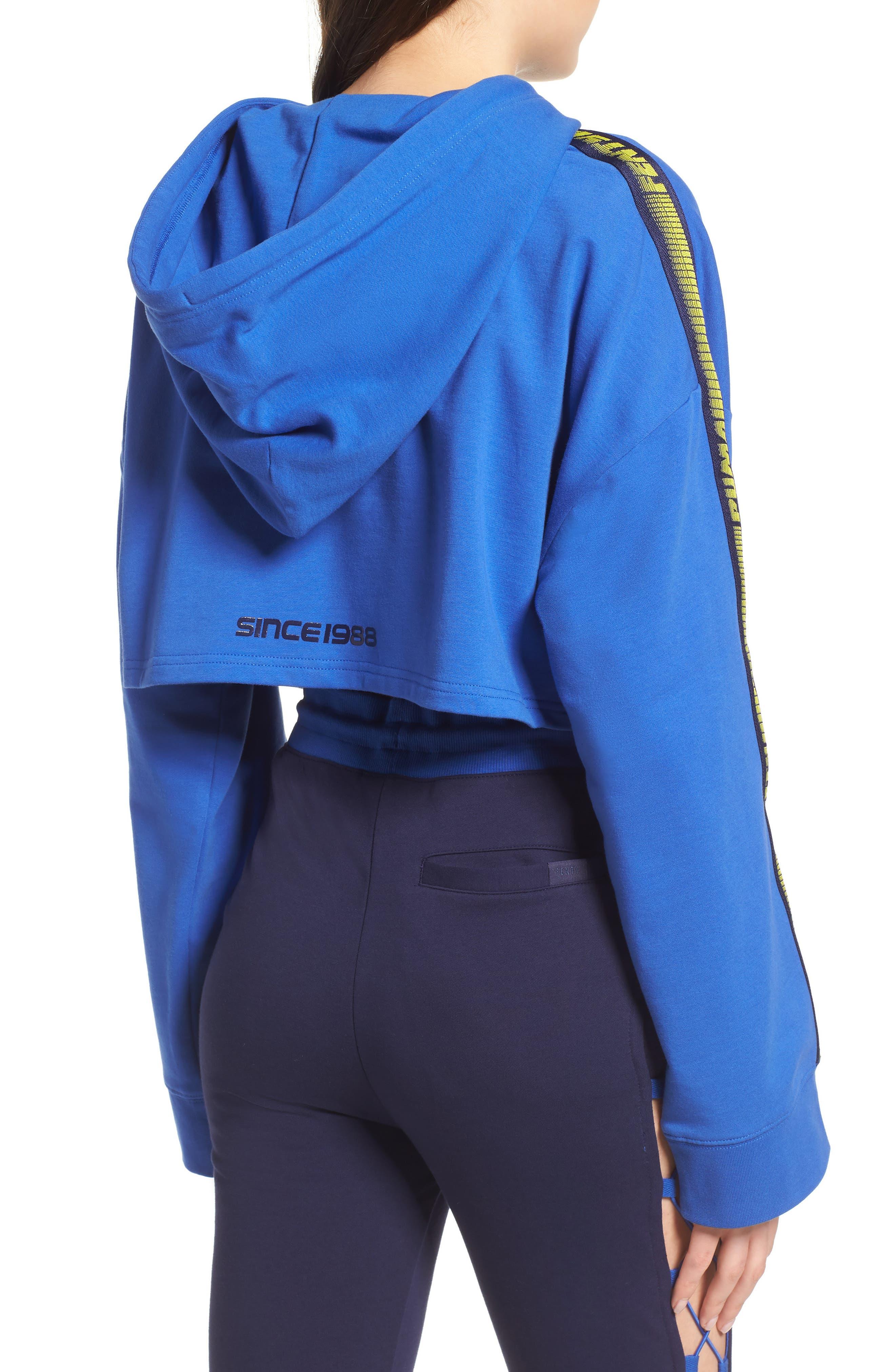 FENTY PUMA by Rihanna Hooded Crop Sweatshirt,                             Alternate thumbnail 2, color,                             Dazzling Blue