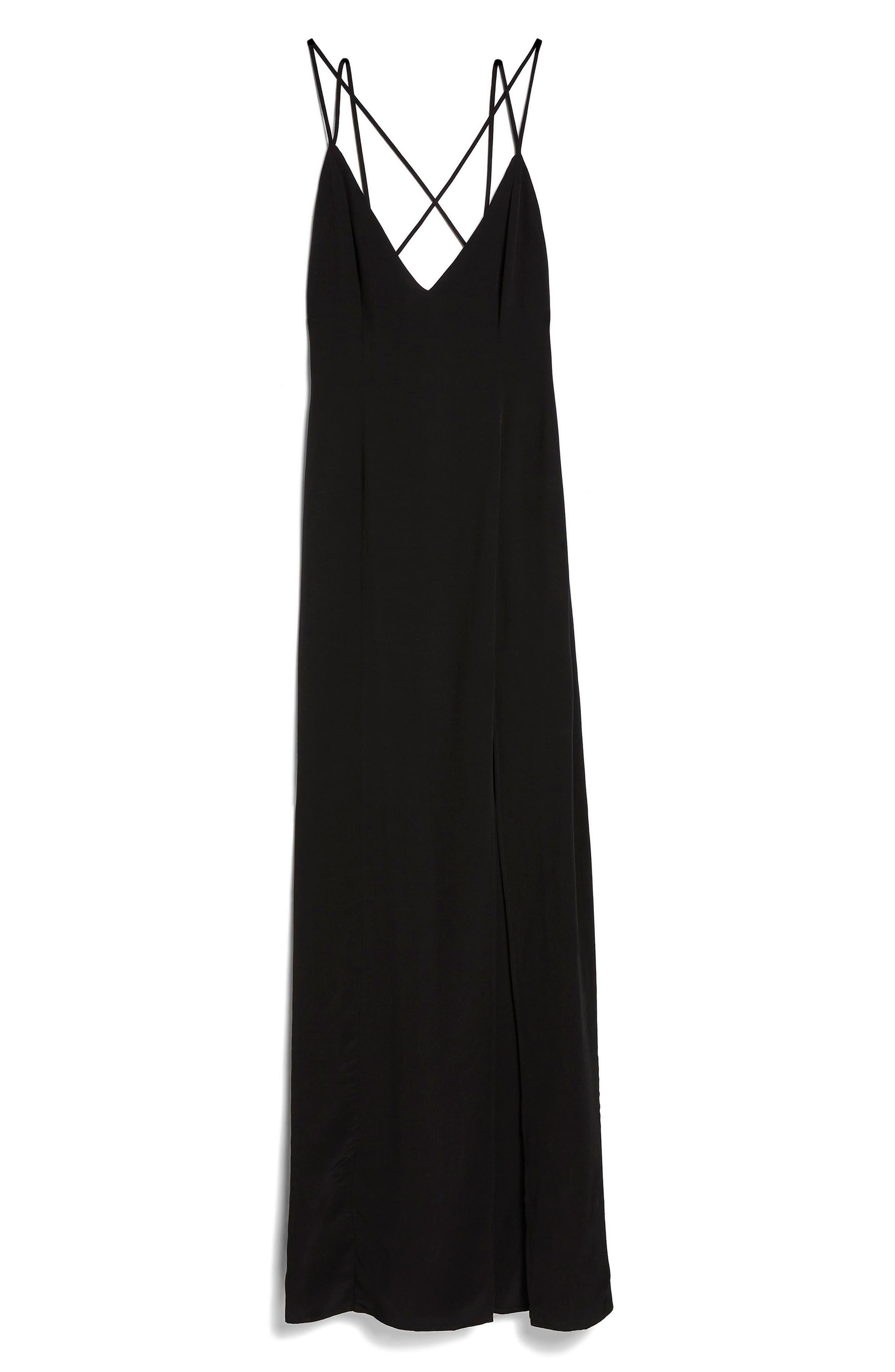 Strappy Plunge Neck Maxi Dress,                             Alternate thumbnail 3, color,                             Black
