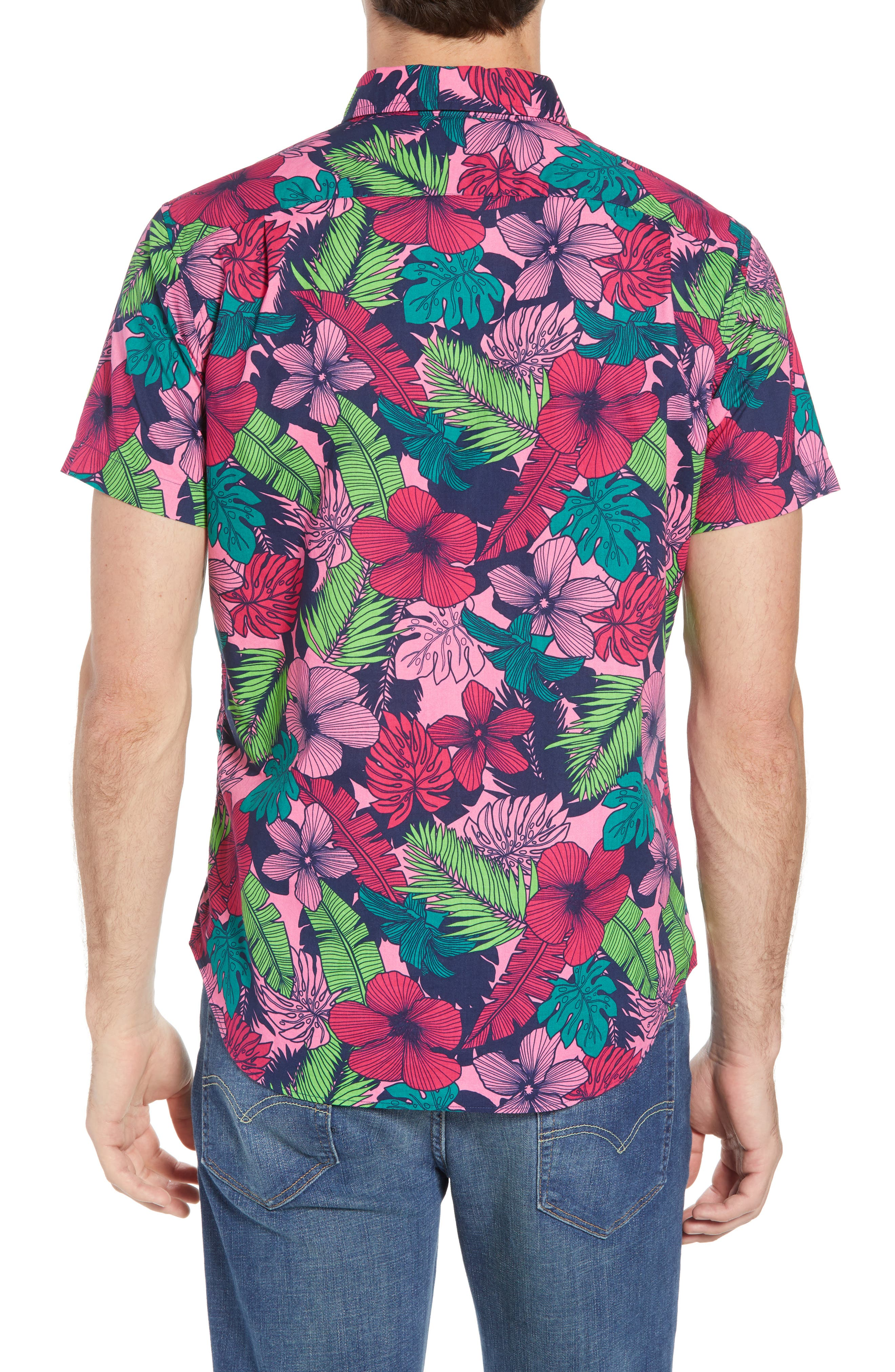 Slim Fit Floral Print Sport Shirt,                             Alternate thumbnail 3, color,                             Garden Cove - Pink Rocket