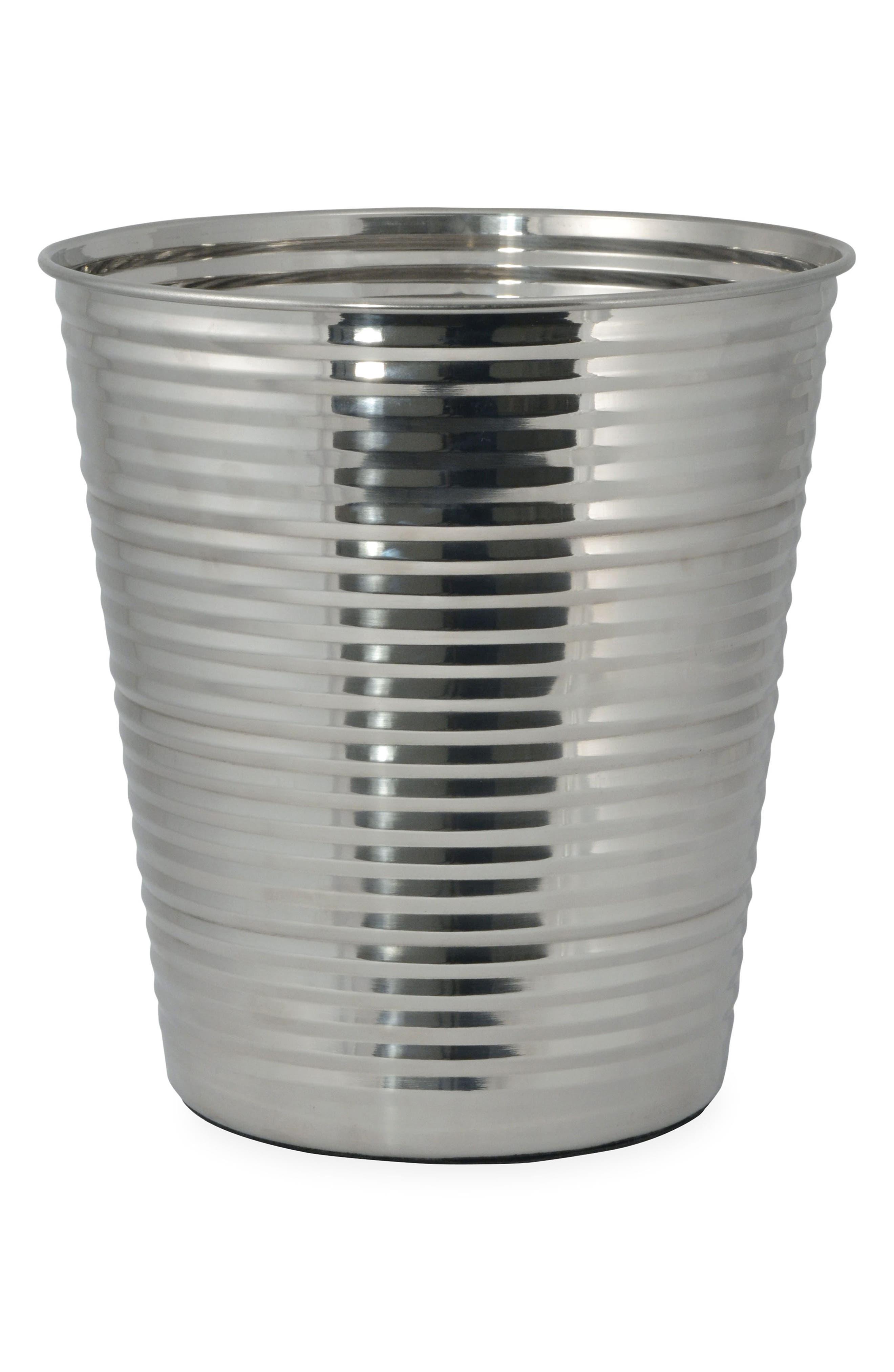 Corrugated Wastebasket,                         Main,                         color, Silver