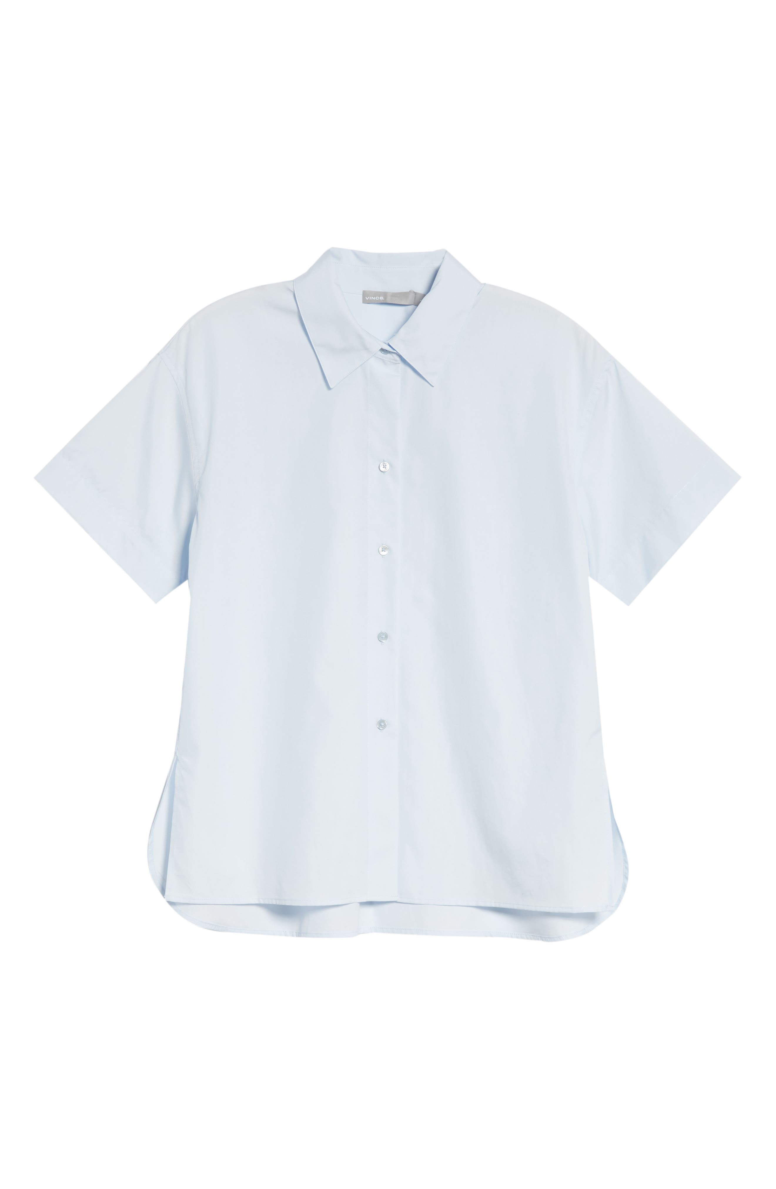 Short Sleeve Cotton Shirt,                             Alternate thumbnail 6, color,                             Powder Blue
