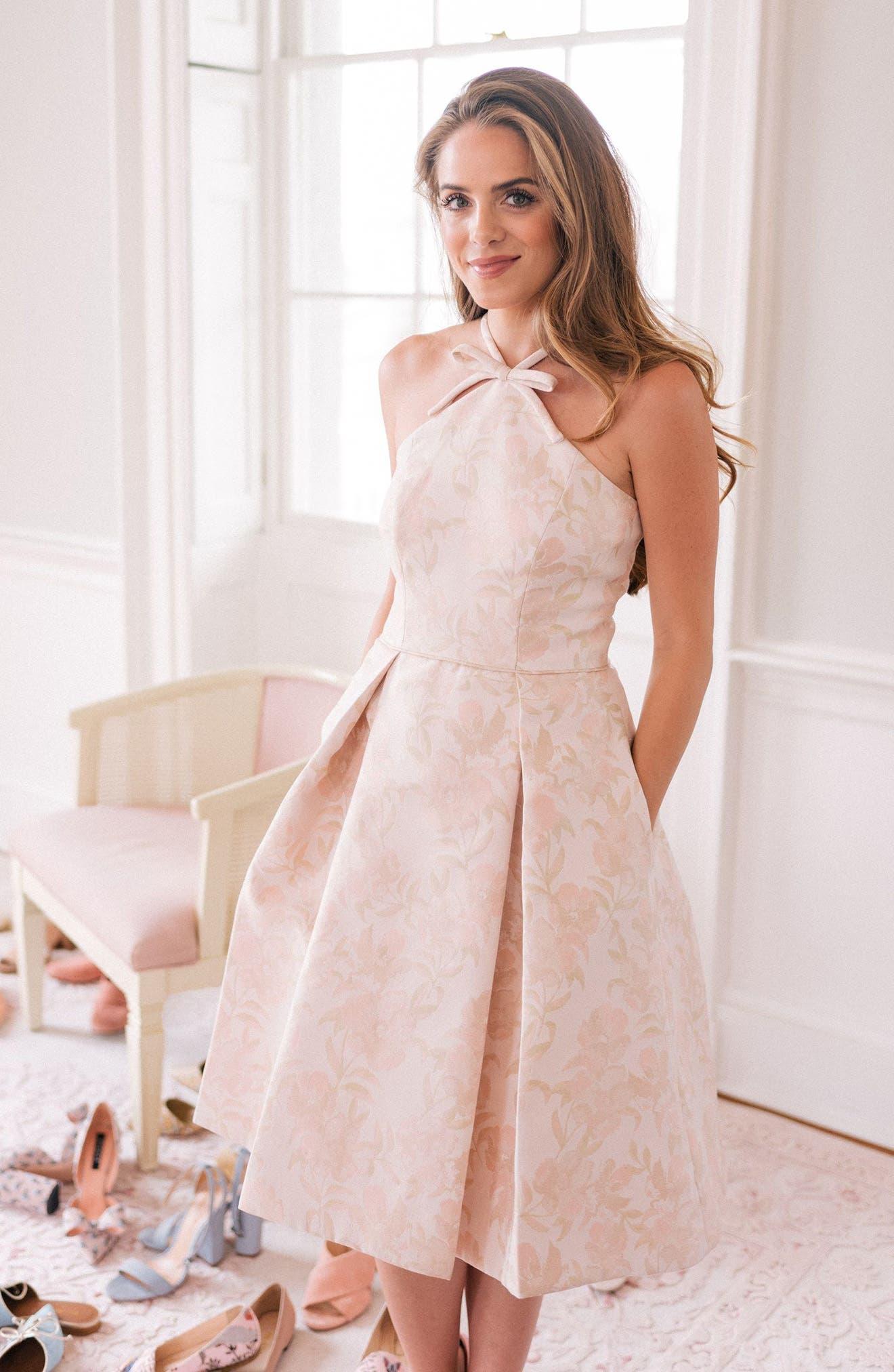 Evelyn Sea Holly Jacquard Halter Dress,                             Alternate thumbnail 2, color,                             Blush Combo
