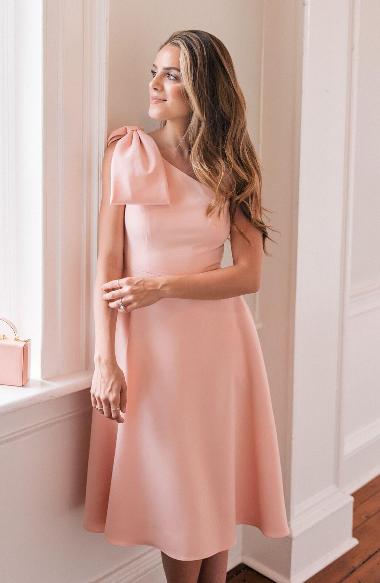 Yvonne Dream Crepe One-Shoulder Dress,                             Alternate thumbnail 2, color,                             Rose Quartz