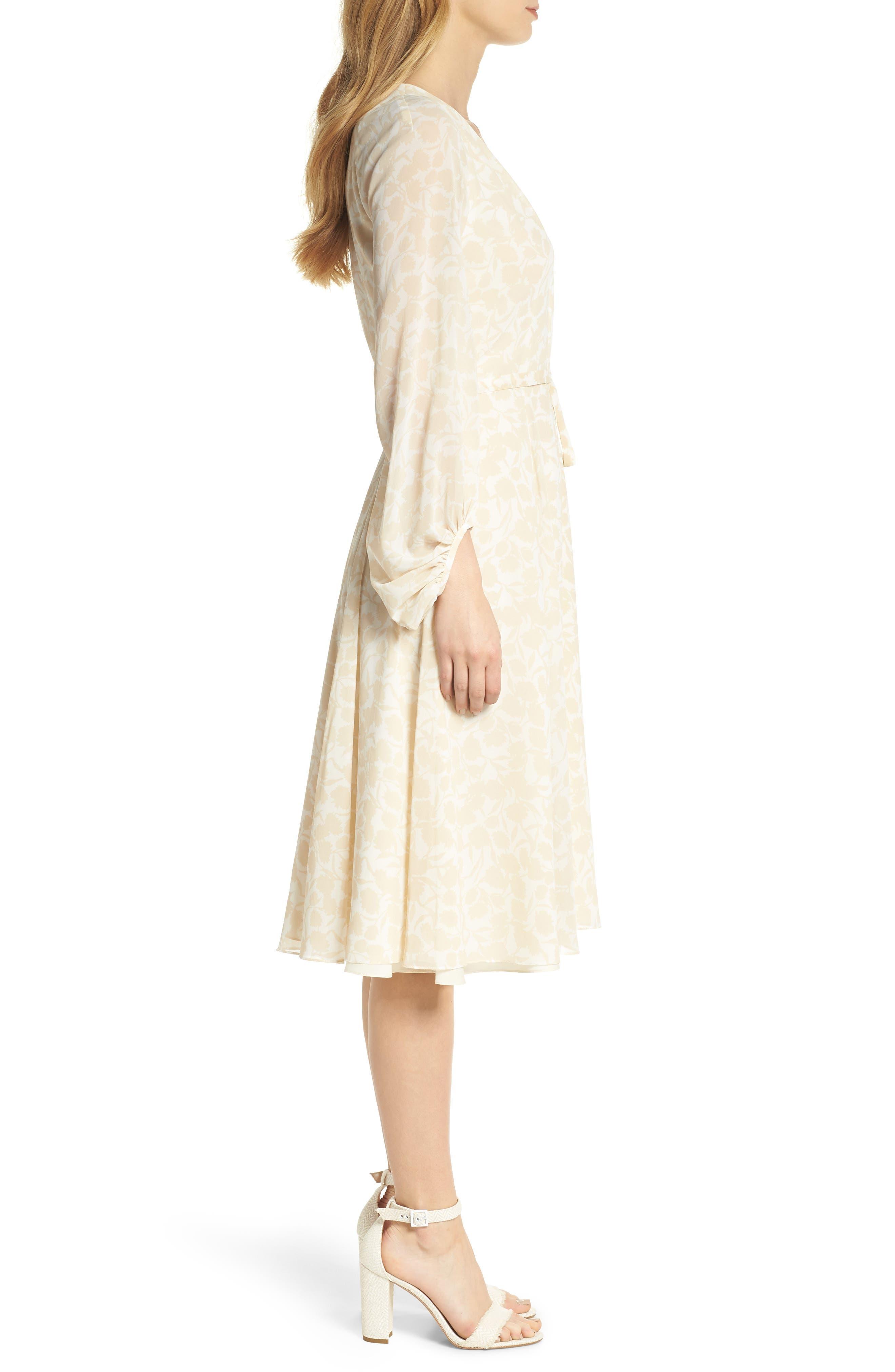 Esther Shadow Branch Chiffon Dress,                             Alternate thumbnail 4, color,                             Cream Combo