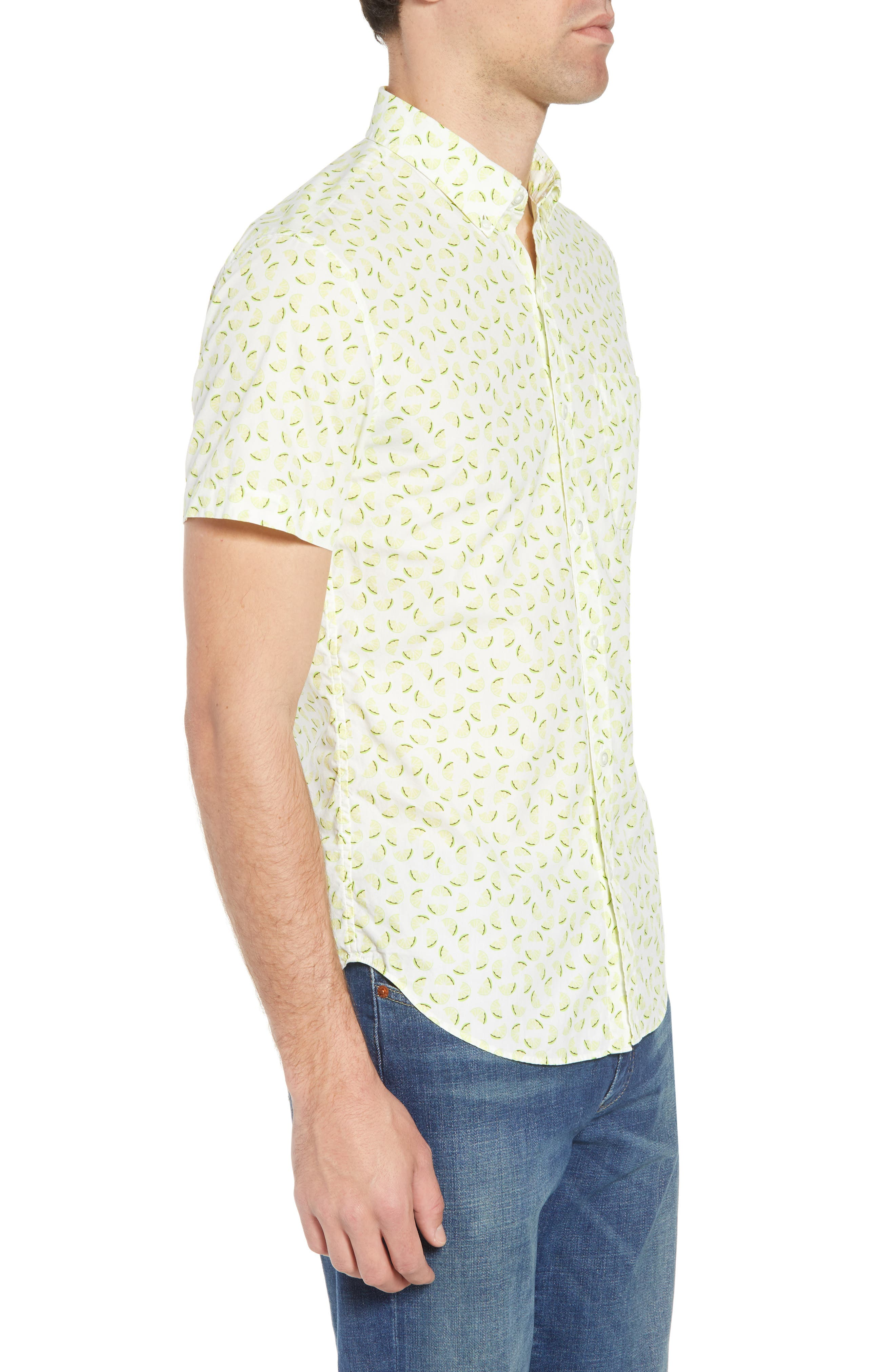 Slim Fit Citrus Print Sport Shirt,                             Alternate thumbnail 4, color,                             Lemon Toss - Acid Lime