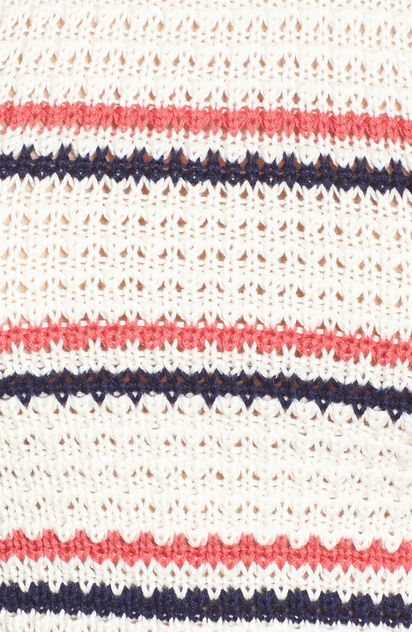 Stripe Halter Sweater Tank,                             Alternate thumbnail 6, color,                             Ivory/ Navy/ Pink Stripe